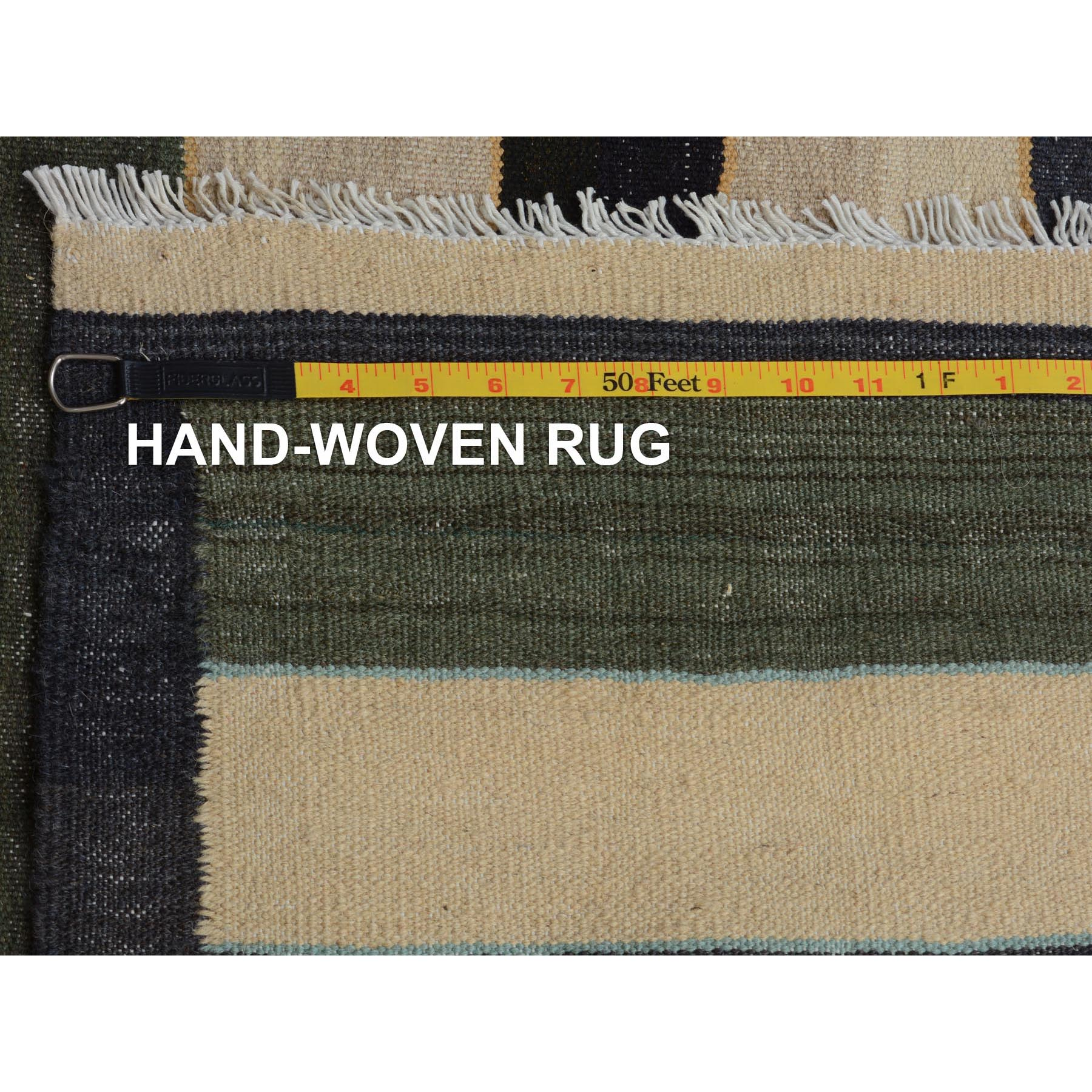 """5'x8'2"""" Colorful Afghan Reversible Kilim Pure Wool Hand Woven Striped Oriental Rug"""