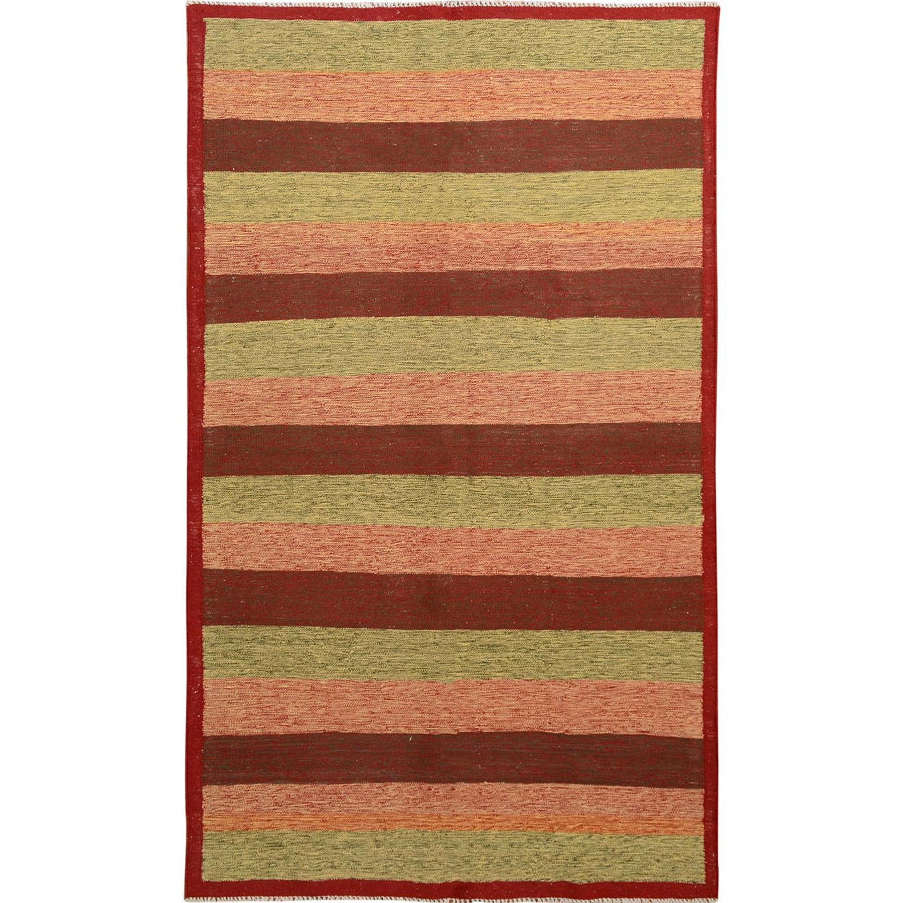 "4'10""x8'1"" Red Afghan Reversible Kilim Pure Wool Hand Woven Striped Oriental Rug"