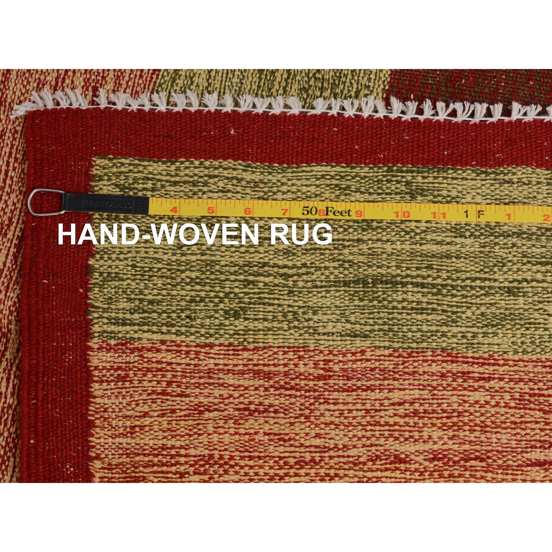 """4'10""""x8'1"""" Red Afghan Reversible Kilim Pure Wool Hand Woven Striped Oriental Rug"""