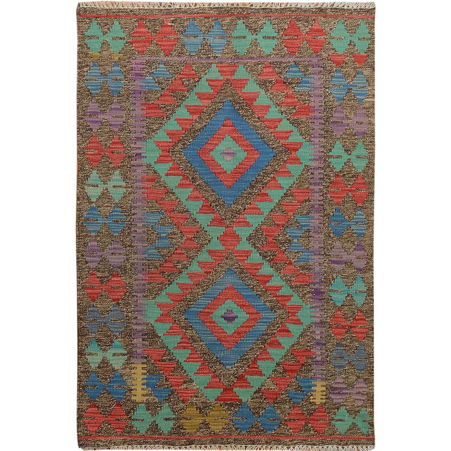 "2'7""x3'10""  Colorful Reversible Vegetable Dyes Afghan Kilim Pure Wool Hand Woven Oriental Rug"