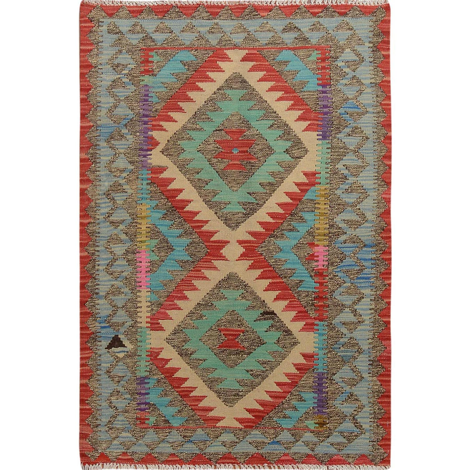 "2'8""x4'1"" Afghan Reversible Kilim Vegetable Dyes Colorful Pure Wool Hand Woven Oriental Rug"