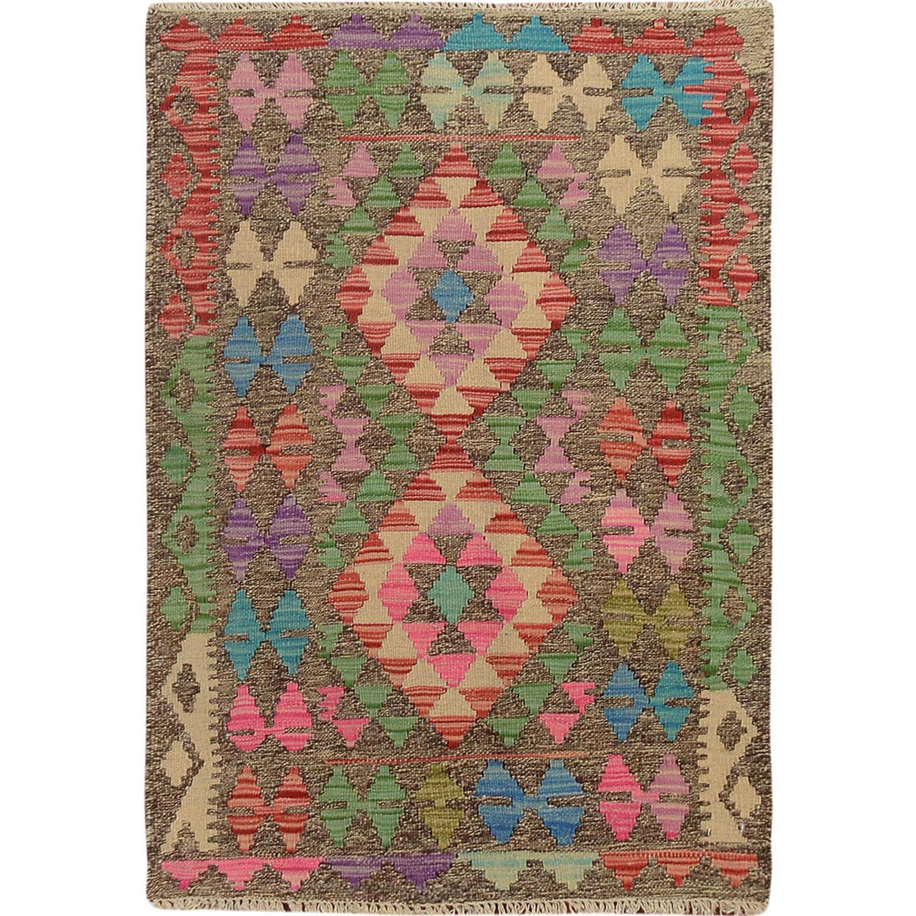 "2'7""x3'7"" Colorful Vegetable Dyes Afghan Reversible Kilim Pure Wool Hand Woven Oriental Rug"