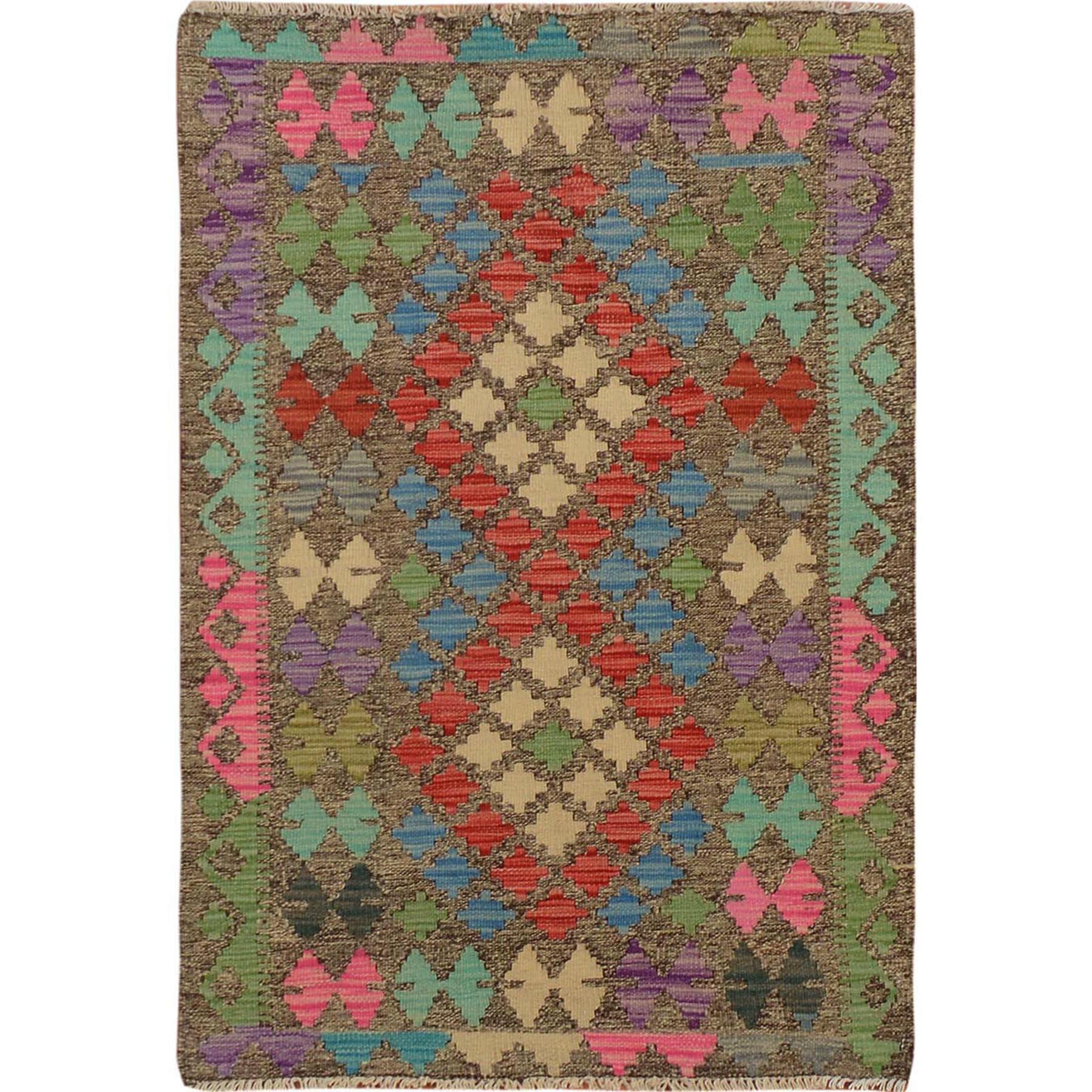 """2'7""""x3'10"""" Afghan Reversible Kilim Vegetable Dyes Pure Wool Hand Woven Oriental Rug"""