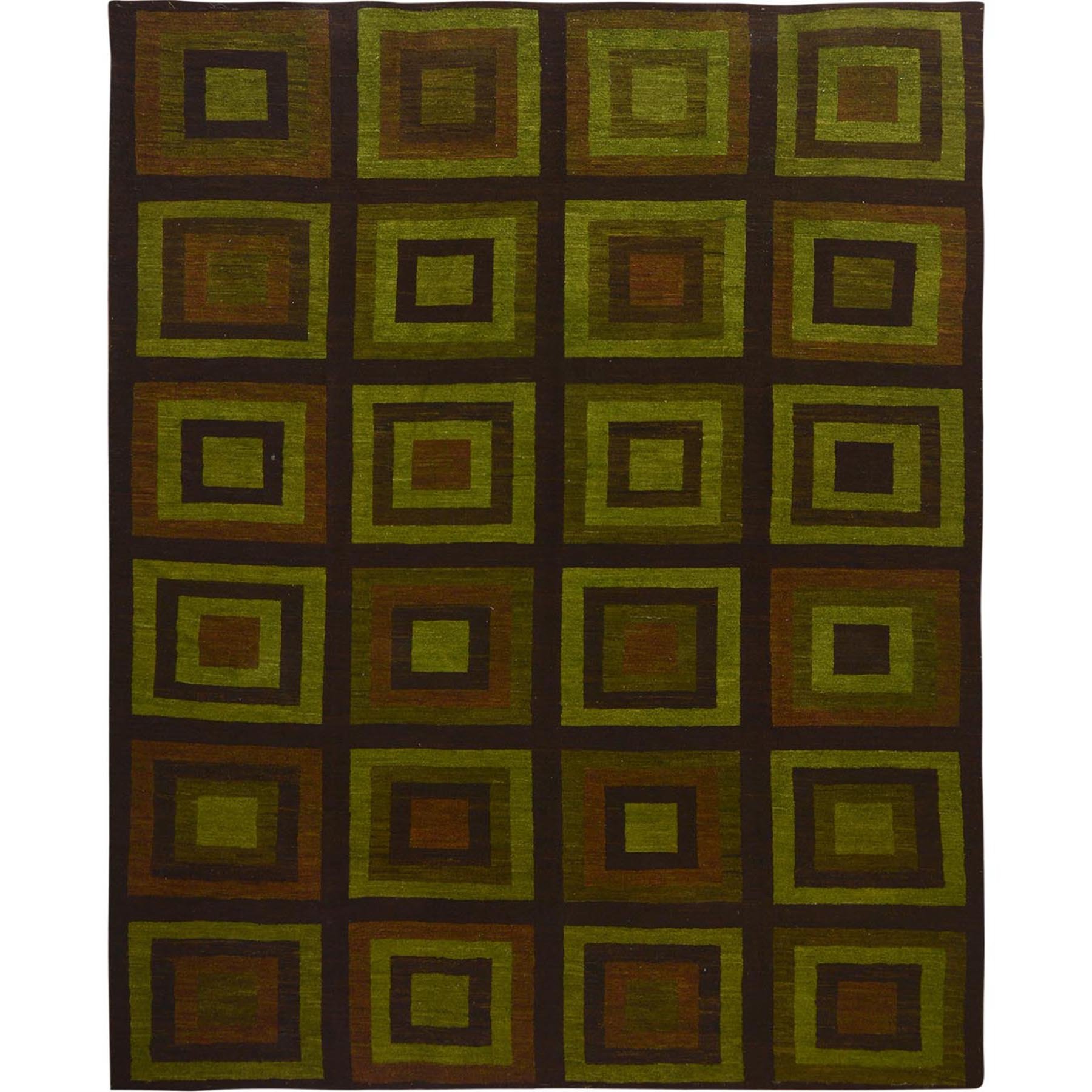 "10'1""x12'10""  Green Kilim With Square Design Pure wool Hand Woven Oriental Rug"