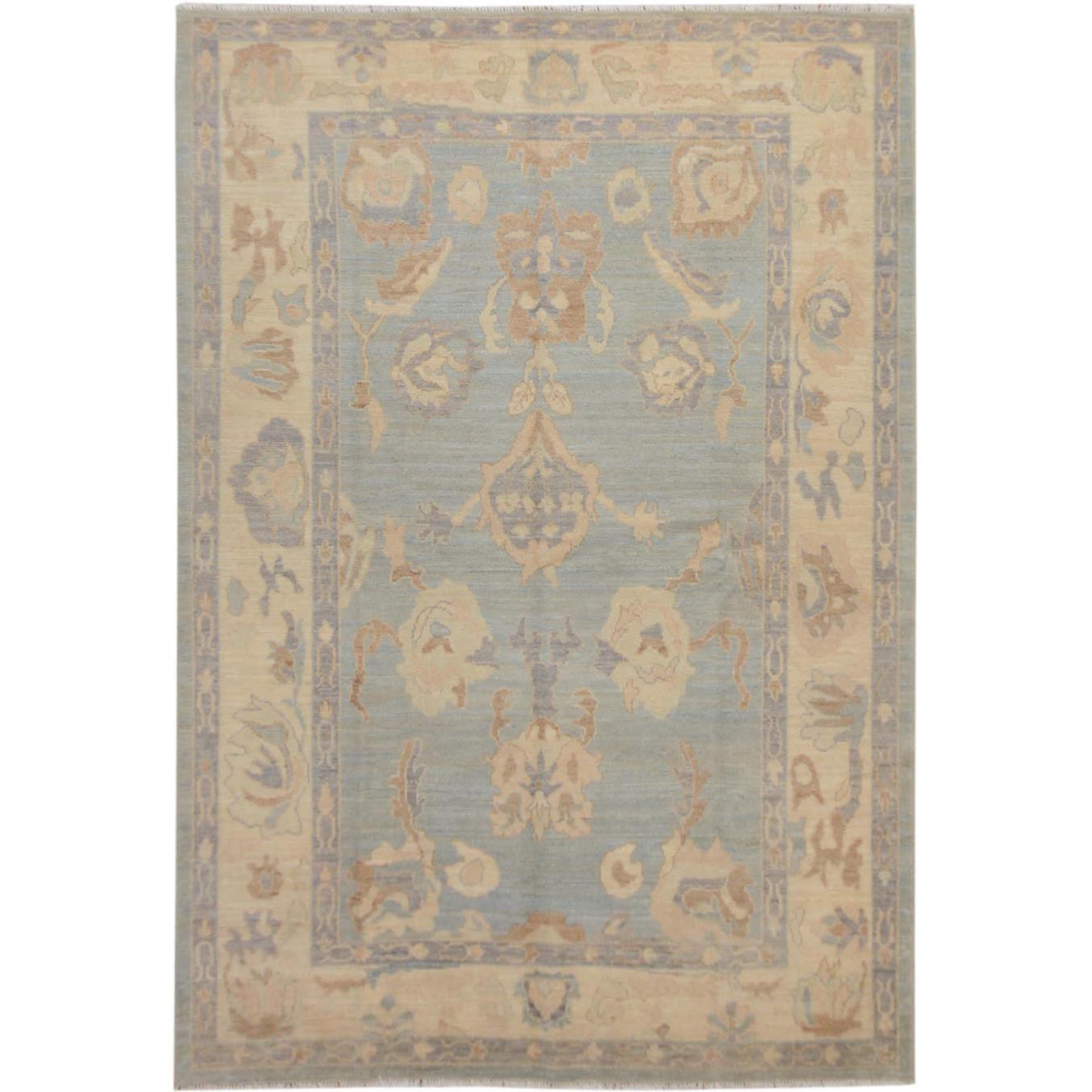 "6'2""x8'10"" Gray Angora Oushak With Soft Velvety Wool Hand Knotted Oriental Rug"