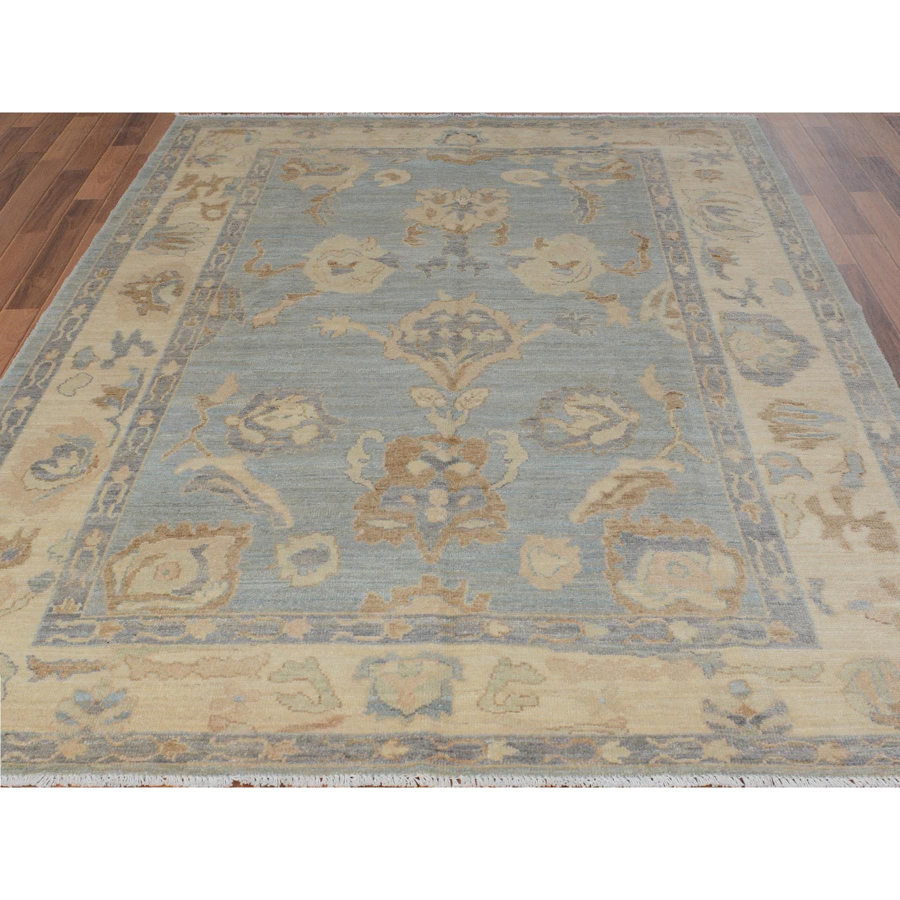 """6'2""""x8'10"""" Gray Angora Oushak With Soft Velvety Wool Hand Knotted Oriental Rug"""