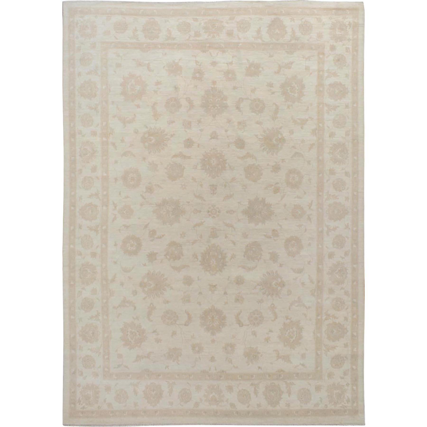 "8'9""x11'9"" Ivory White Wash Peshawar Ziegler Mahal Pure Wool Hand Knotted Oriental Rug"
