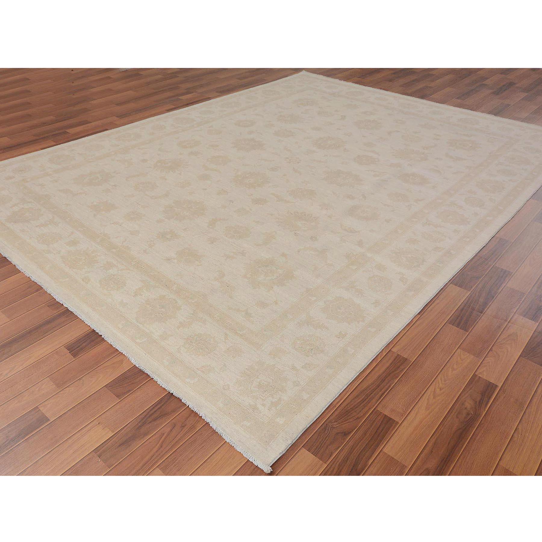 "8'9""x11'9"" Ivory White Wash Peshawar Ziegler Mahal Pure Wool Hand Knotted Oriental Rug"