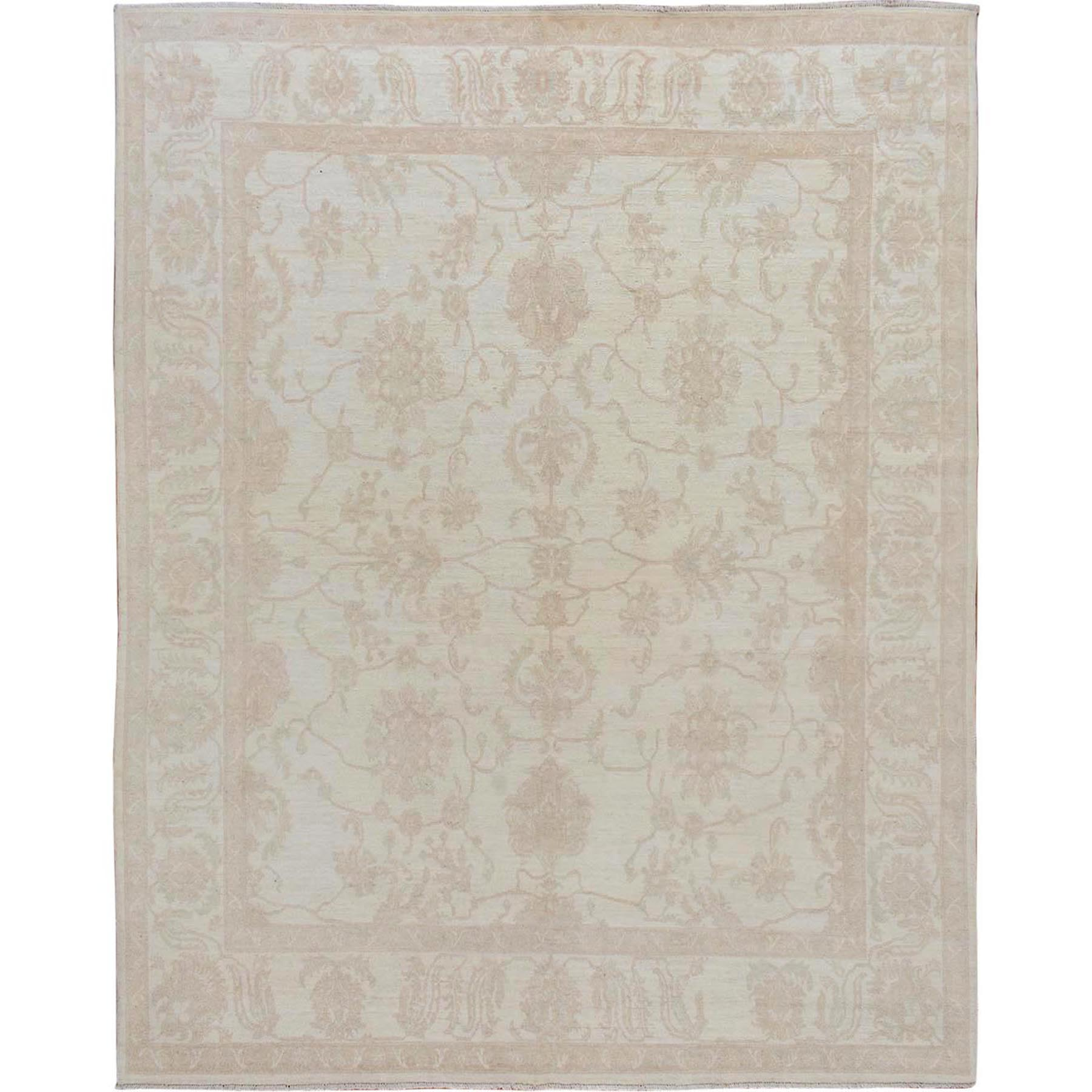 "8'x9'6"" Ivory White Wash Peshawar Ziegler Mahal Pure Wool Hand Knotted Oriental Rug"