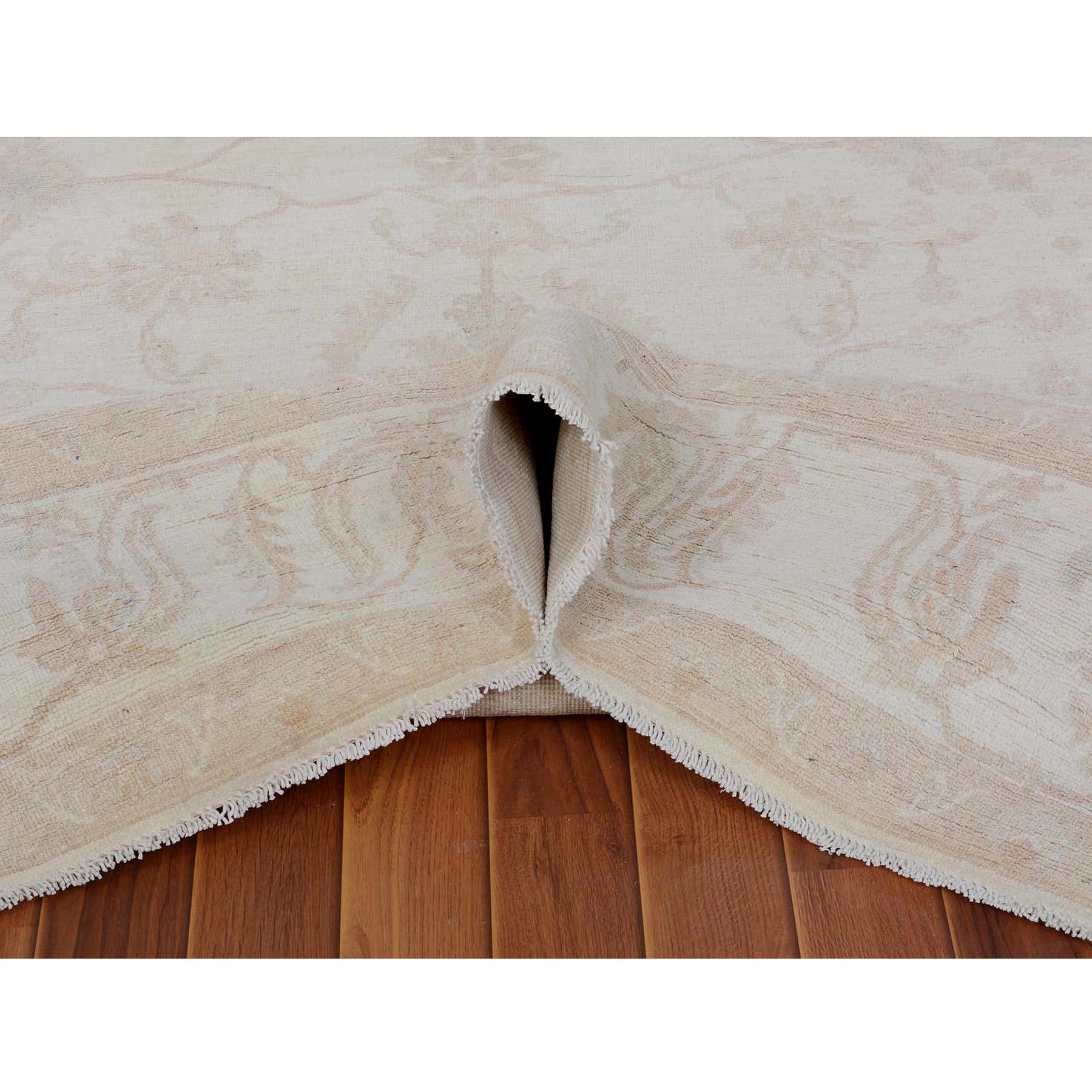 "8'x9'6"" Ivory White Wash Peshawar Ziegler Mahal Pure Wool Hand Knotted Oriental Rug"
