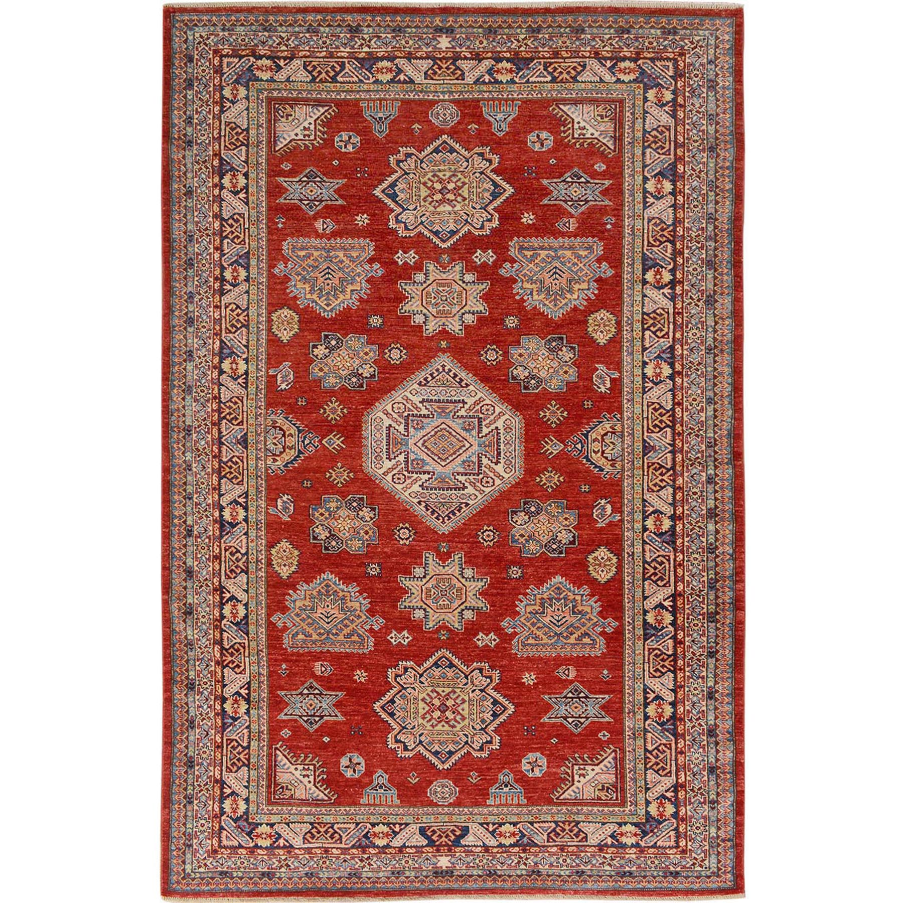 6'x9' Red Super Kazak Pure Wool Geometric Design Hand Knotted Oriental Rug
