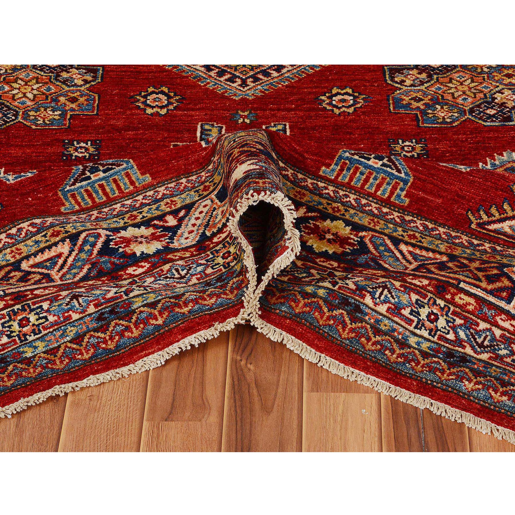 6'x9' Red Super Kazak Pure Wool Geometric Design Hand Knotted Oriental Rug