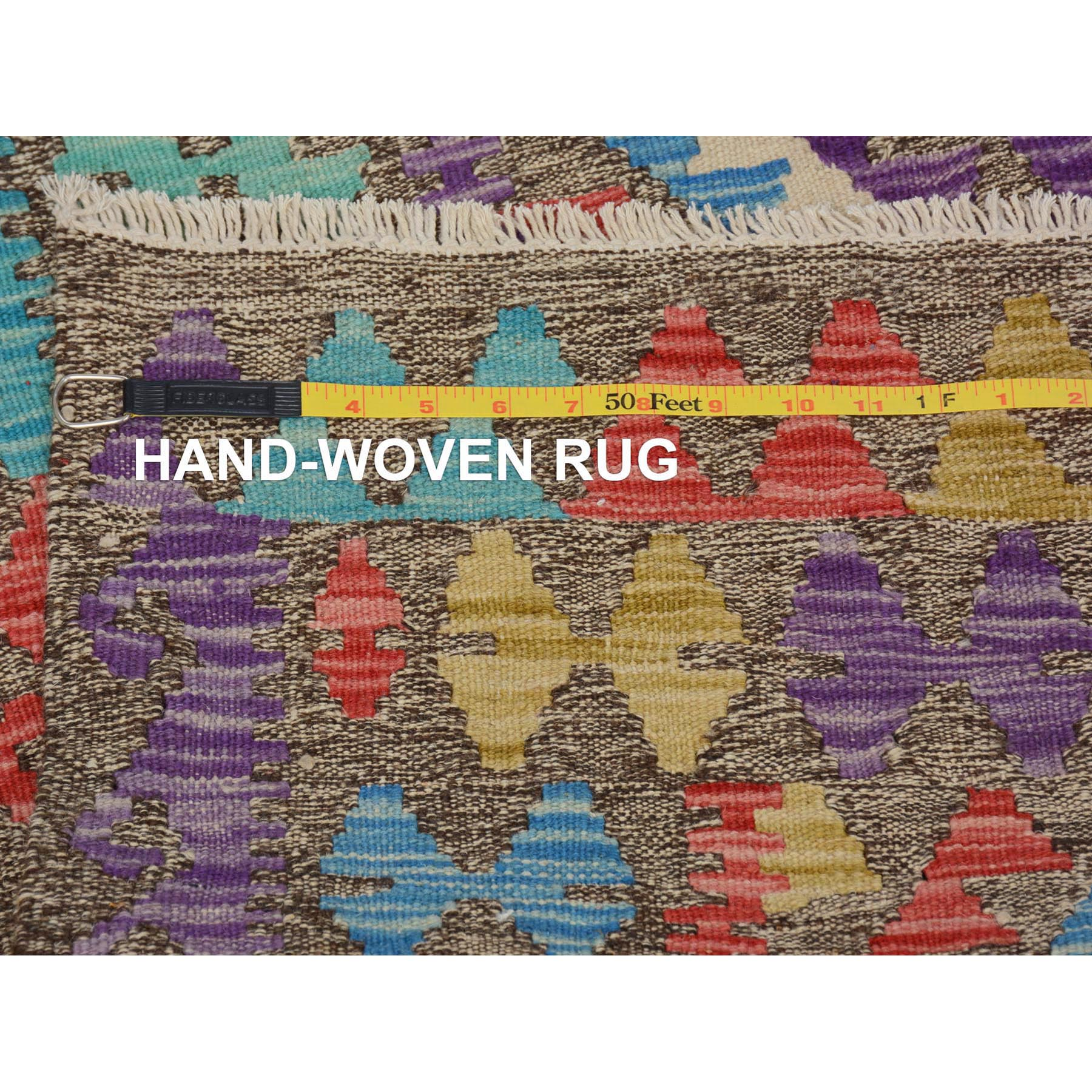 "2'8""x3'10"" Colorful Reversible Afghan Kilim Flat weave Pure Wool Hand Woven Oriental Rug"