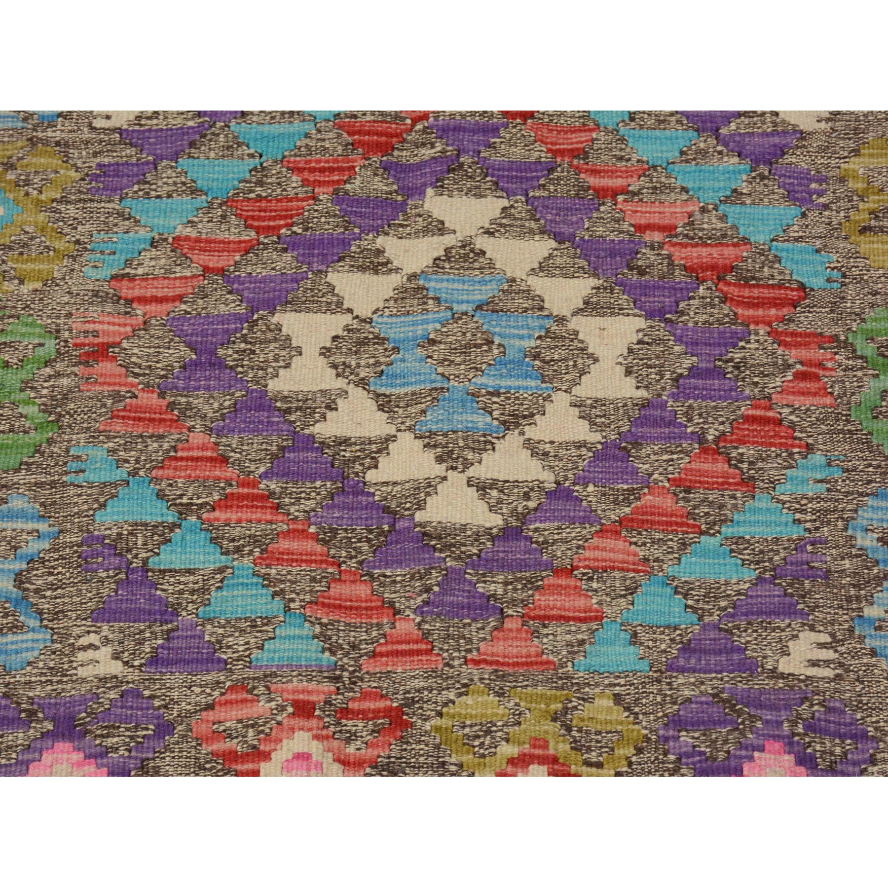 3-x4-3  Colorful Reversible Geometric Design Afghan Kilim Flat Weave Pure Wool Hand Woven Oriental Rug