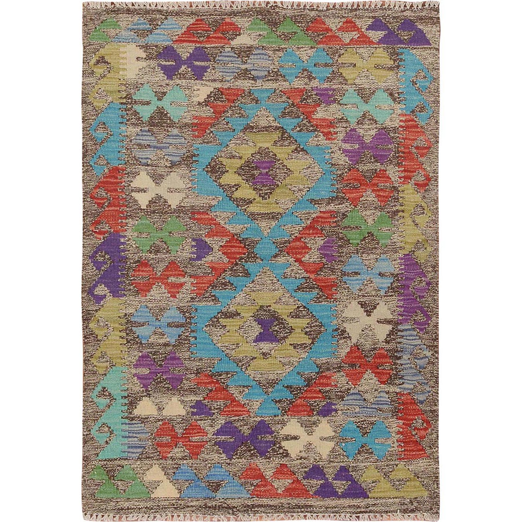"2'7""x3'10"" Colorful Reversible Afghan Kilim Flat Weave Pure Wool Hand Woven Oriental Rug"