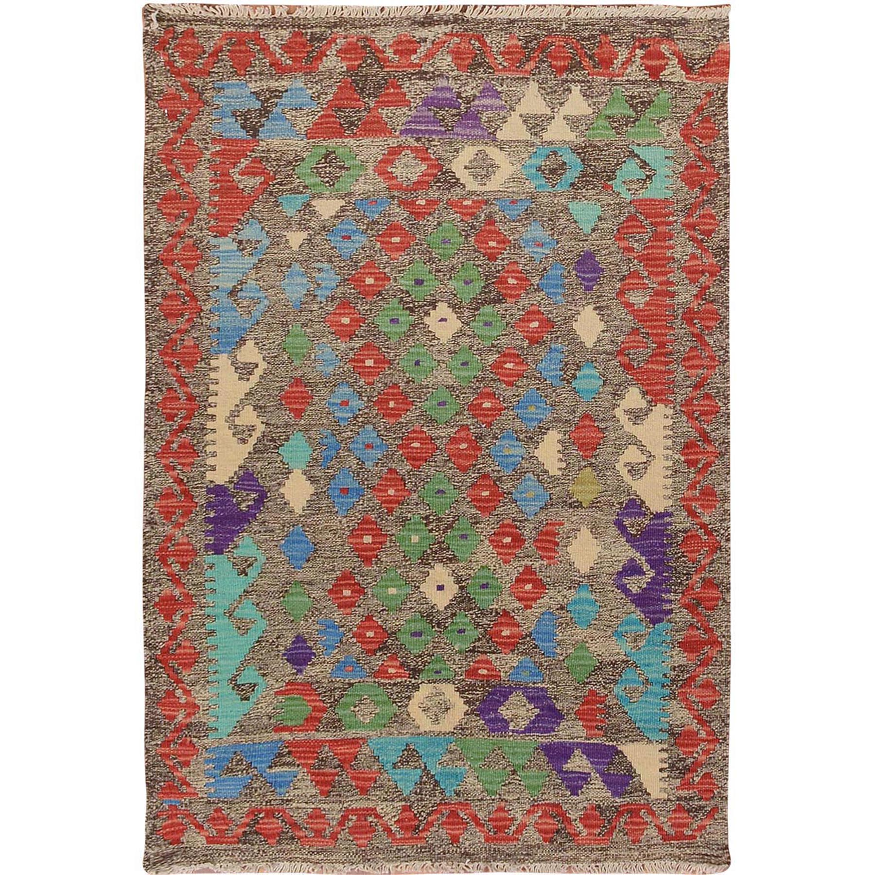 "2'9""x4' Colorful Reversible Afghan Kilim Flat Weave Pure Wool Hand Woven Oriental Rug"