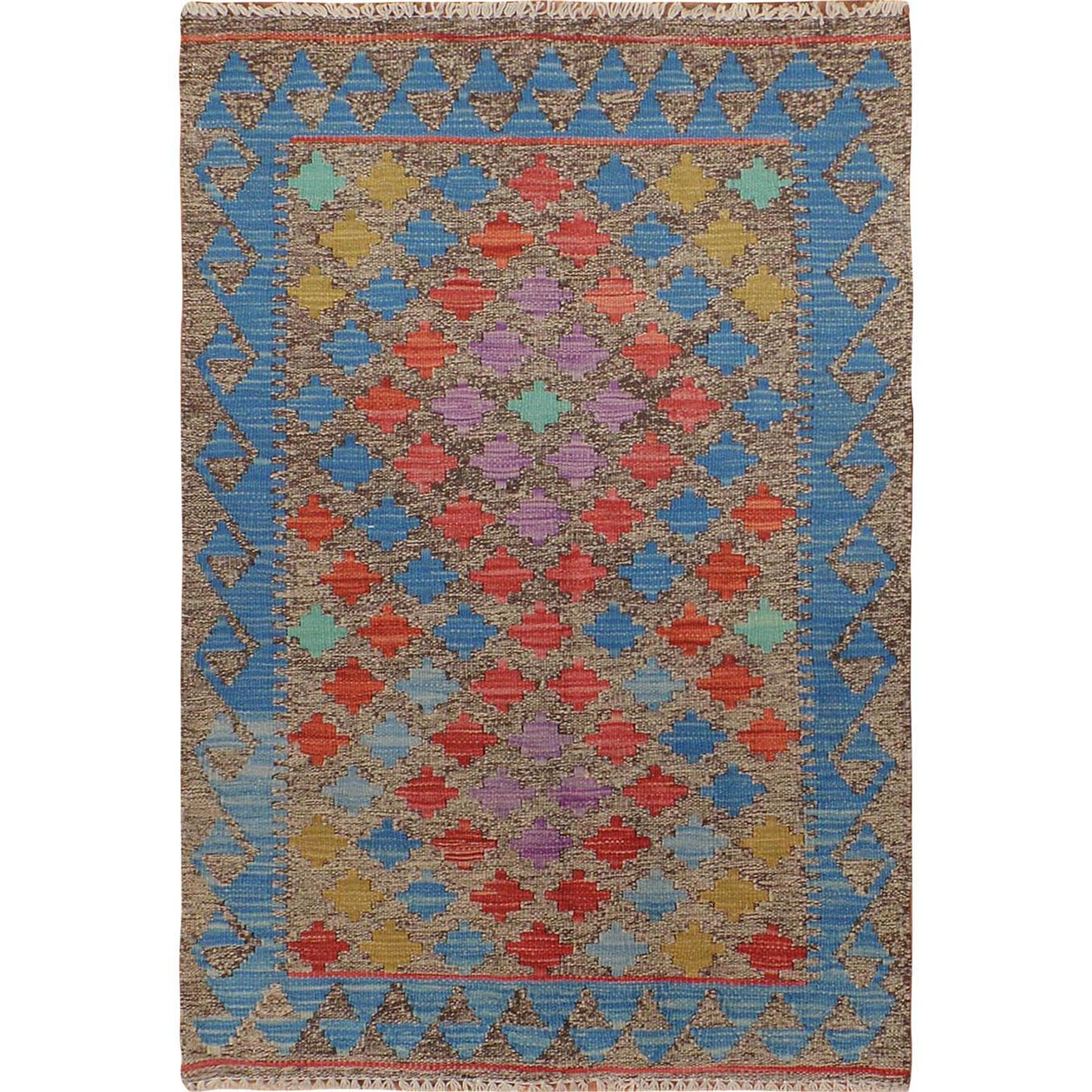 "2'7""x3'9"" Colorful Reversible Afghan Kilim Flat Weave Pure Wool Hand Woven Oriental Rug"