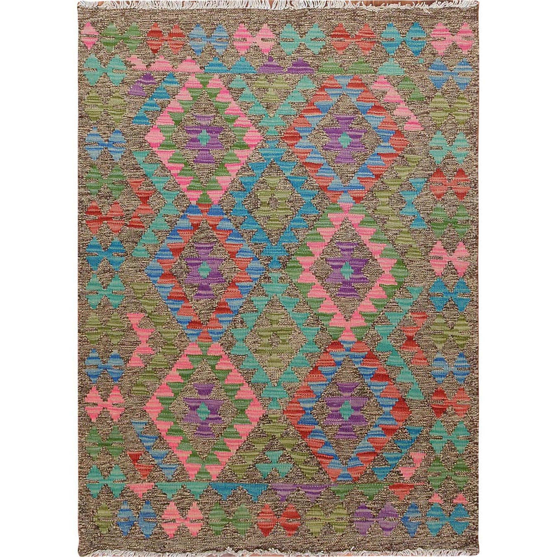 "2'7""x3'8"" Colorful Reversible Geometric Design Afghan Kilim Flat Weave Pure Wool Hand Woven Oriental Rug"