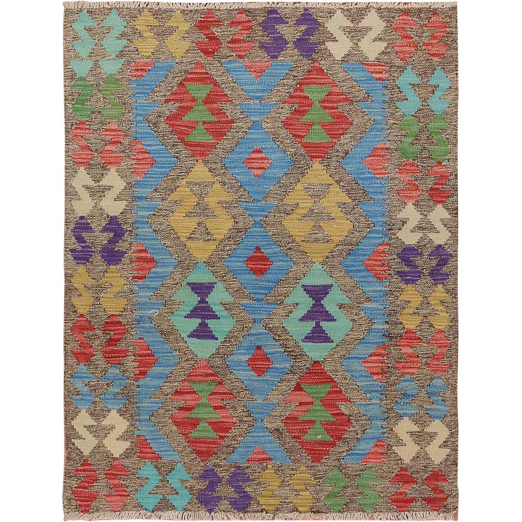"2'10""x3'9"" Colorful Afghan Reversible Kilim 100% Wool Hand Woven Oriental Rug"