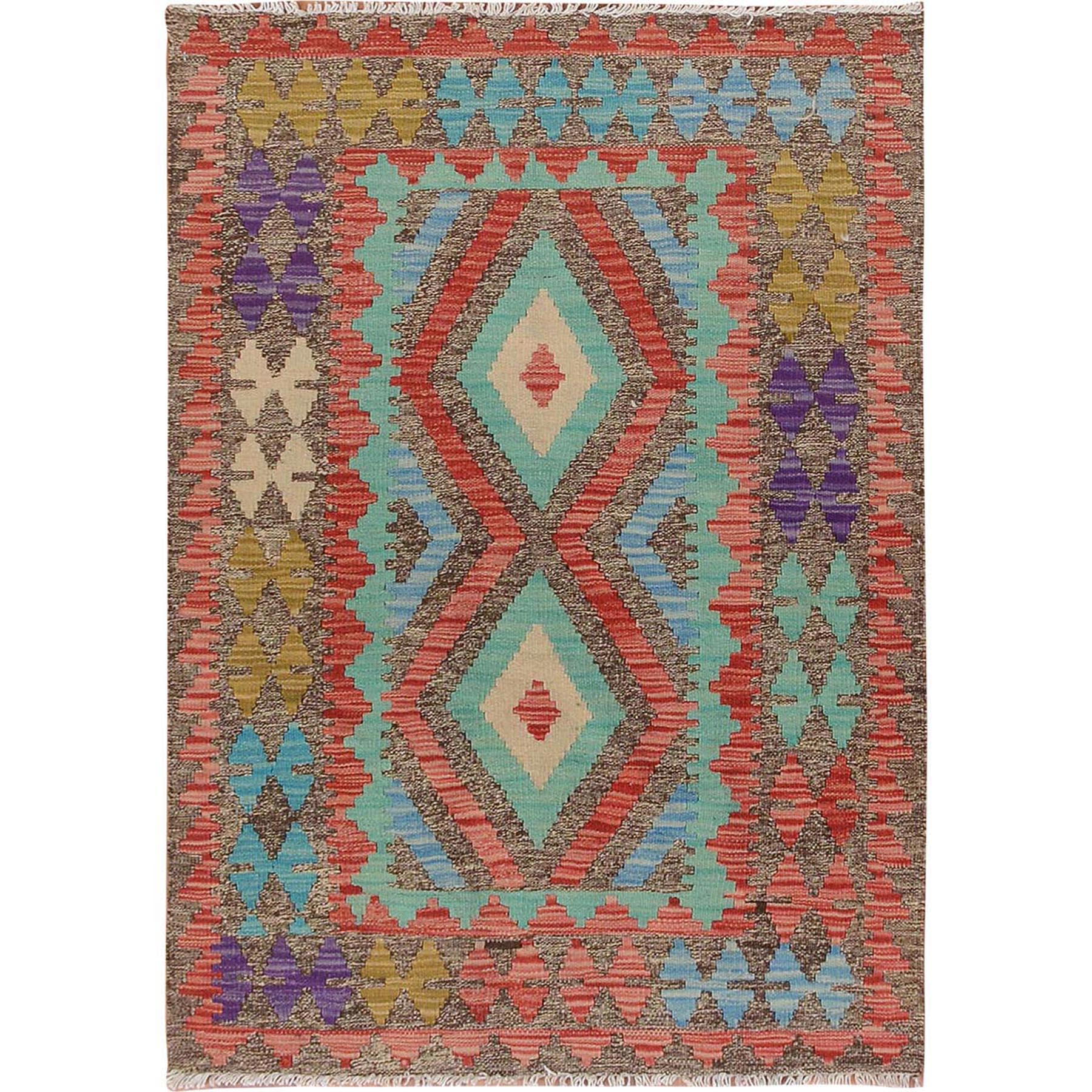 "2'9""x4' Colorful Reversible Geometric Design Afghan Kilim Flat Weave Pure Wool Hand Woven Oriental Rug"