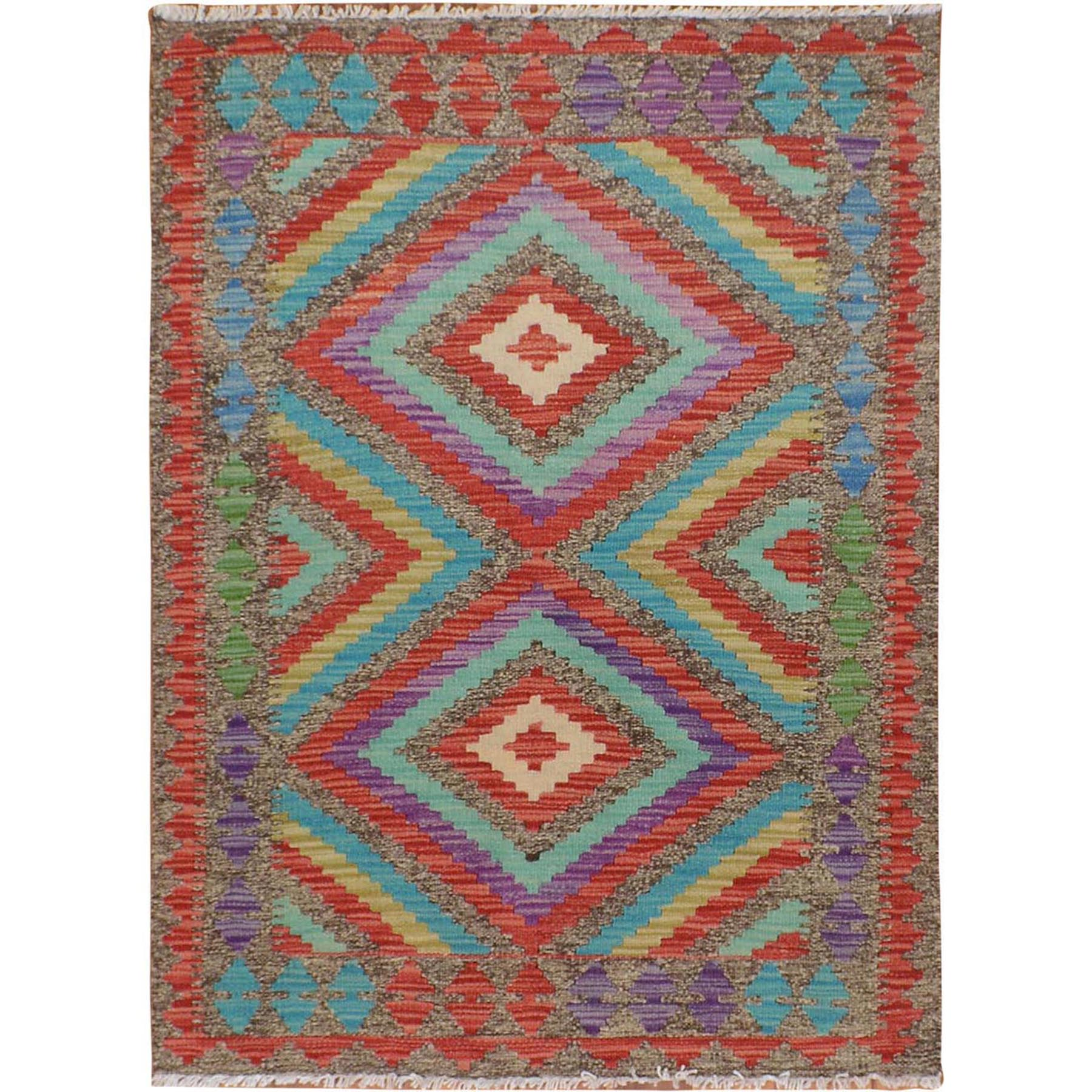 "2'8""x3'8"" Colorful Afghan Reversible Kilim Pure Wool Hand Woven Oriental Rug"