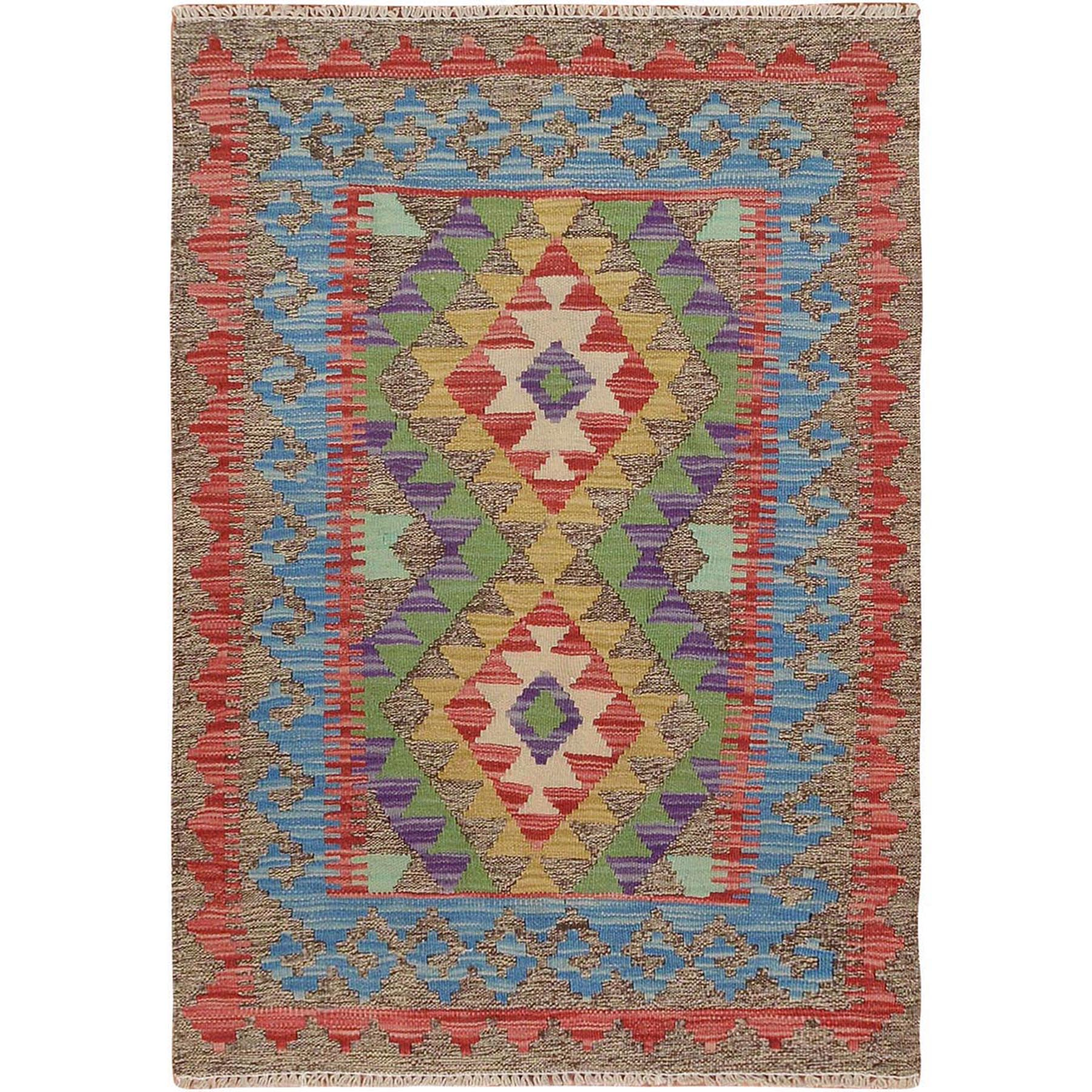 "2'7""x3'8"" Colorful Afghan Reversible Kilim Pure Wool Hand Woven Oriental Rug"