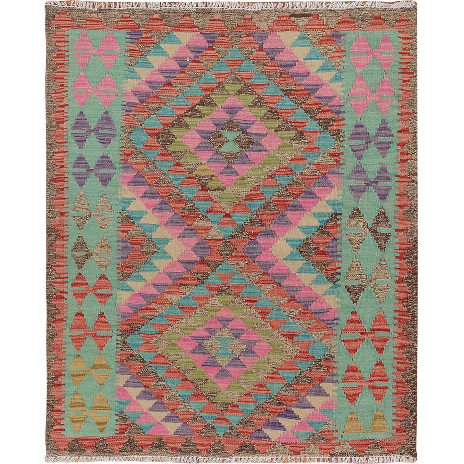 "3'x3'8"" Colorful Afghan Reversible Kilim Pure Wool Hand Woven Square Oriental Rug"