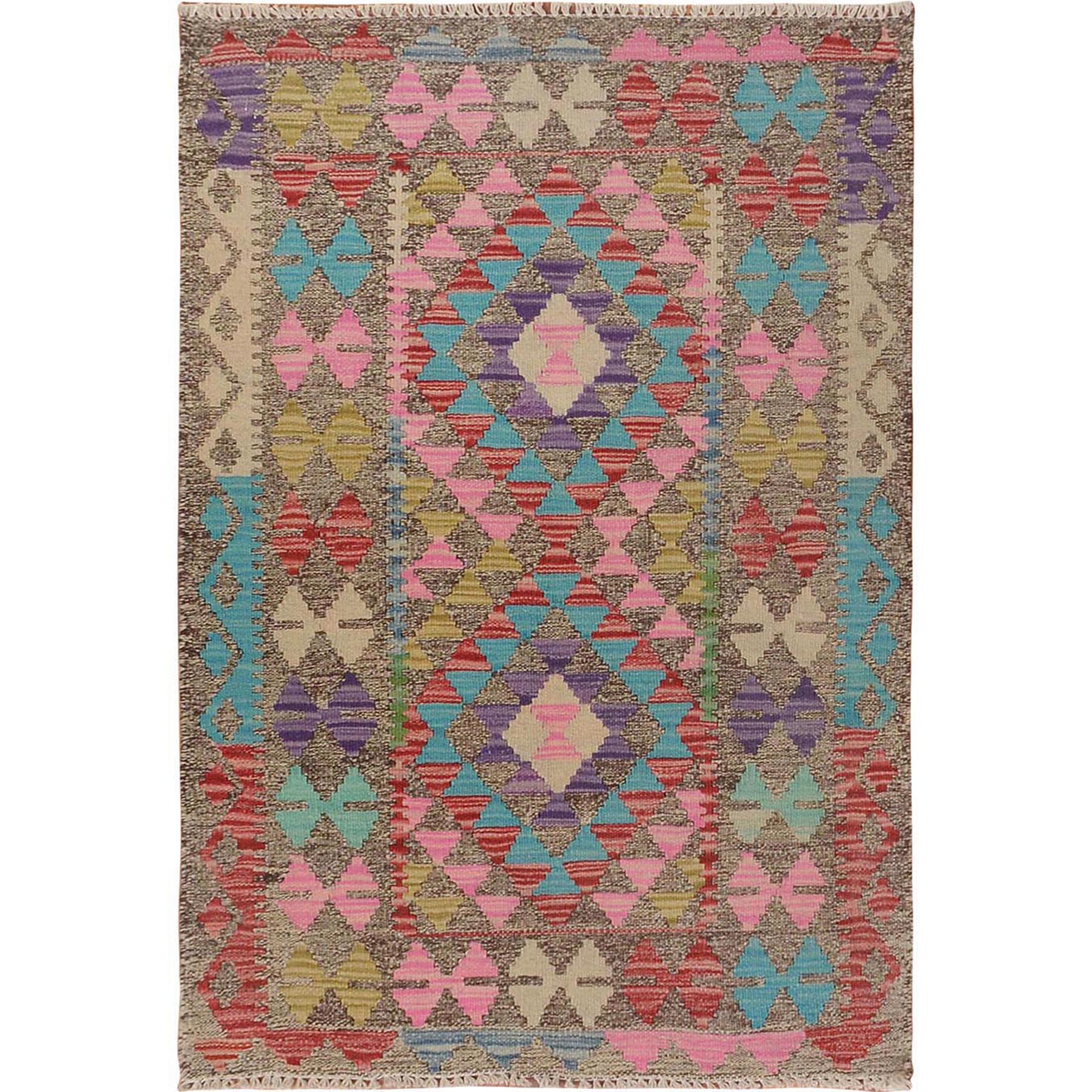 "2'7""x3'10"" Colorful Reversible Flat Weave Afghan Kilim Pure Wool Hand Woven Oriental Rug"