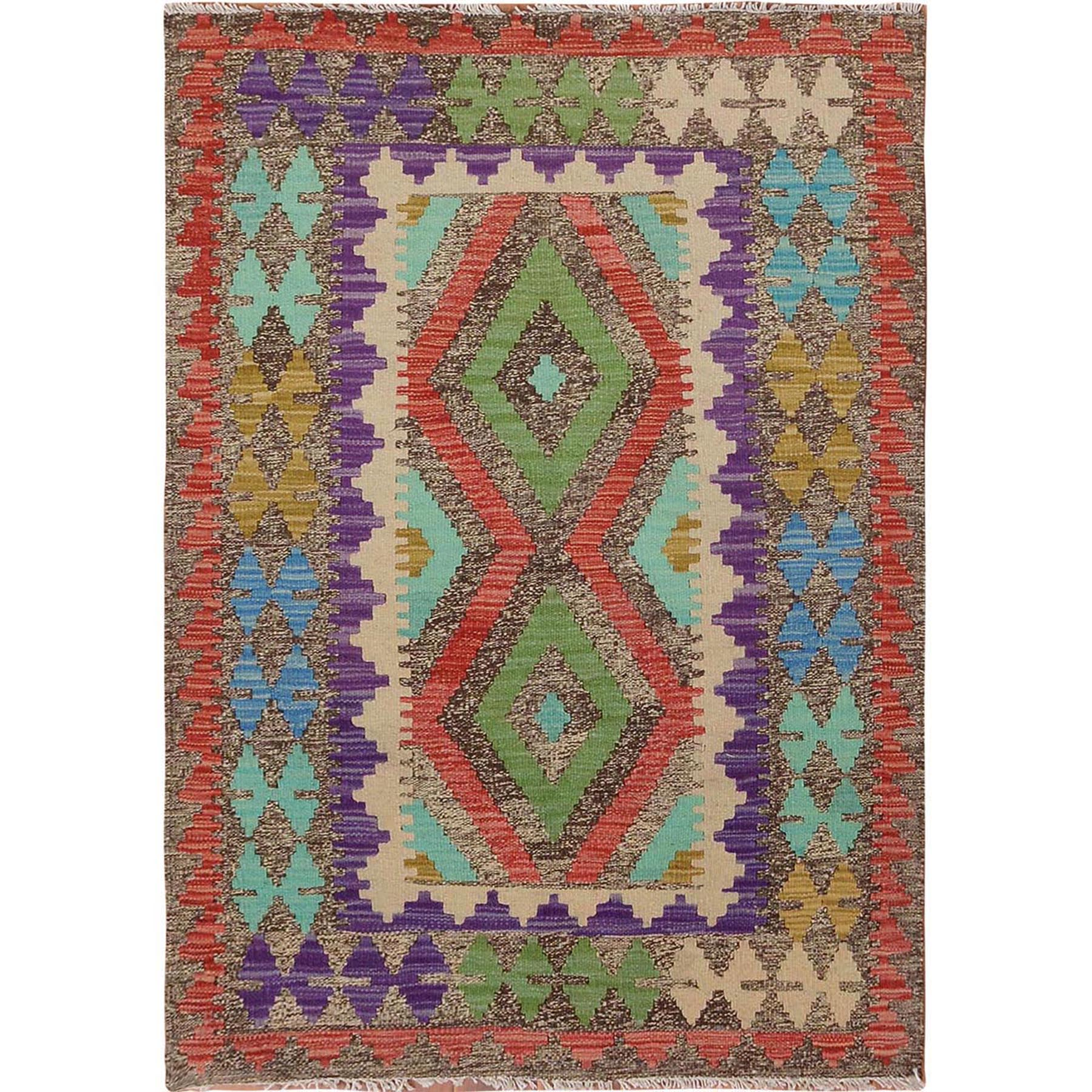 "2'9""X4' Colorful Reversible Flat Weave Afghan Kilim 100% Wool Hand Woven Oriental Rug moae7e69"