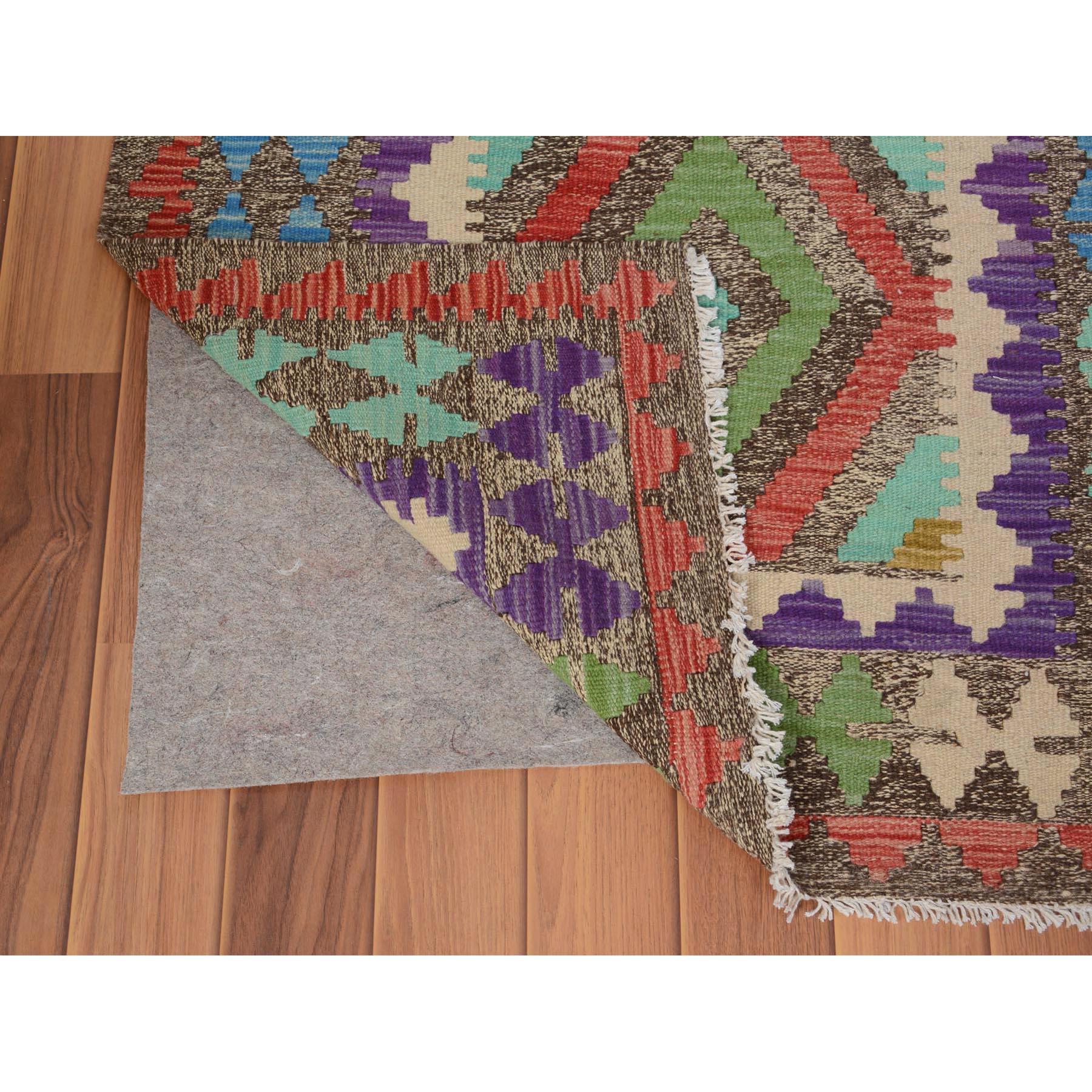 2-9 x4- Colorful Reversible Flat Weave Afghan Kilim 100% Wool Hand Woven Oriental Rug