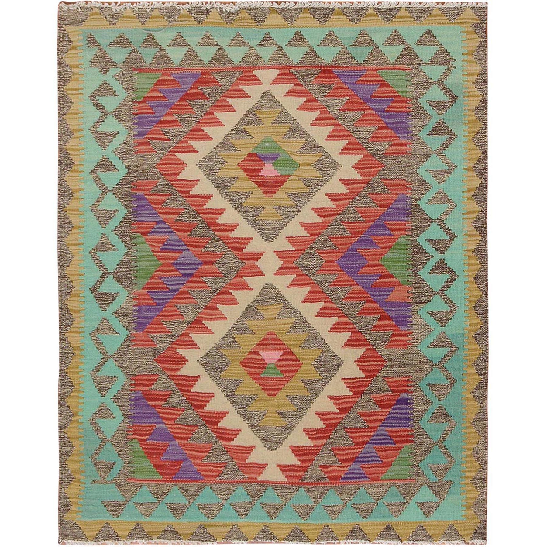 "3'x3'8"" Colorful Afghan Reversible Kilim 100% Wool Hand Woven Square Oriental Rug"