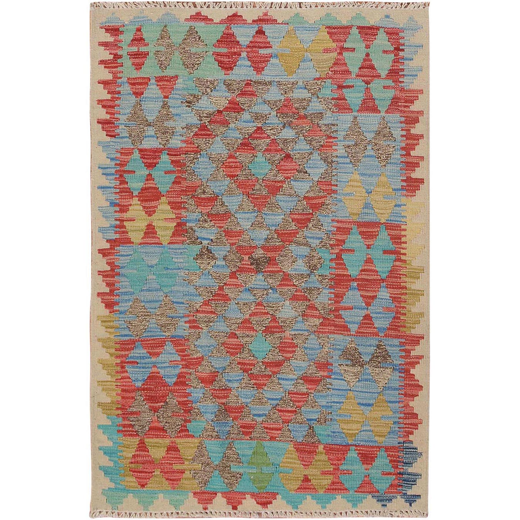 "2'8""x4' Colorful Reversible Flat Weave Afghan Kilim Pure Wool Hand Woven Oriental Rug"