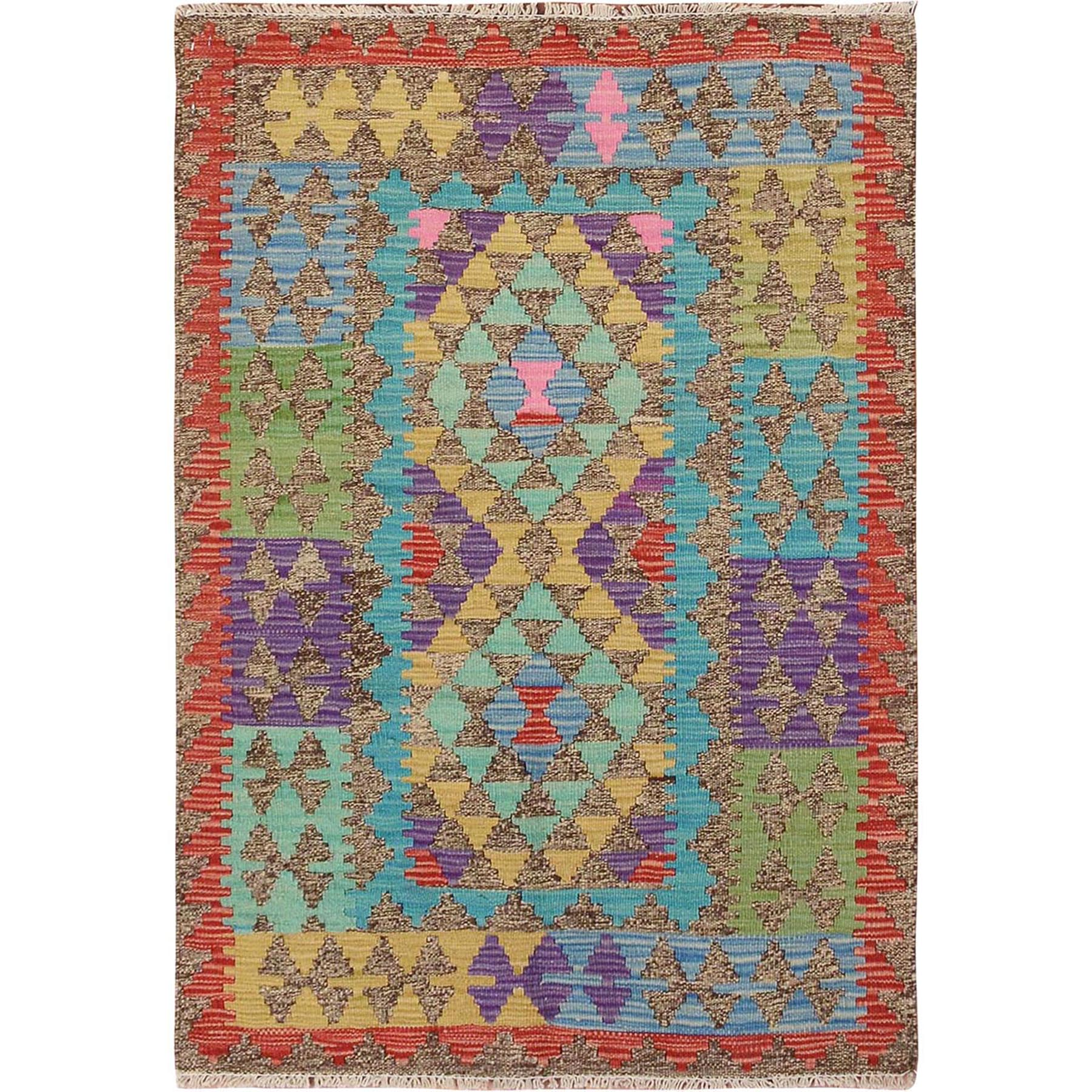 "2'9""x4' Colorful Reversible Flat Weave Afghan Kilim Pure Wool Hand Woven Oriental Rug"
