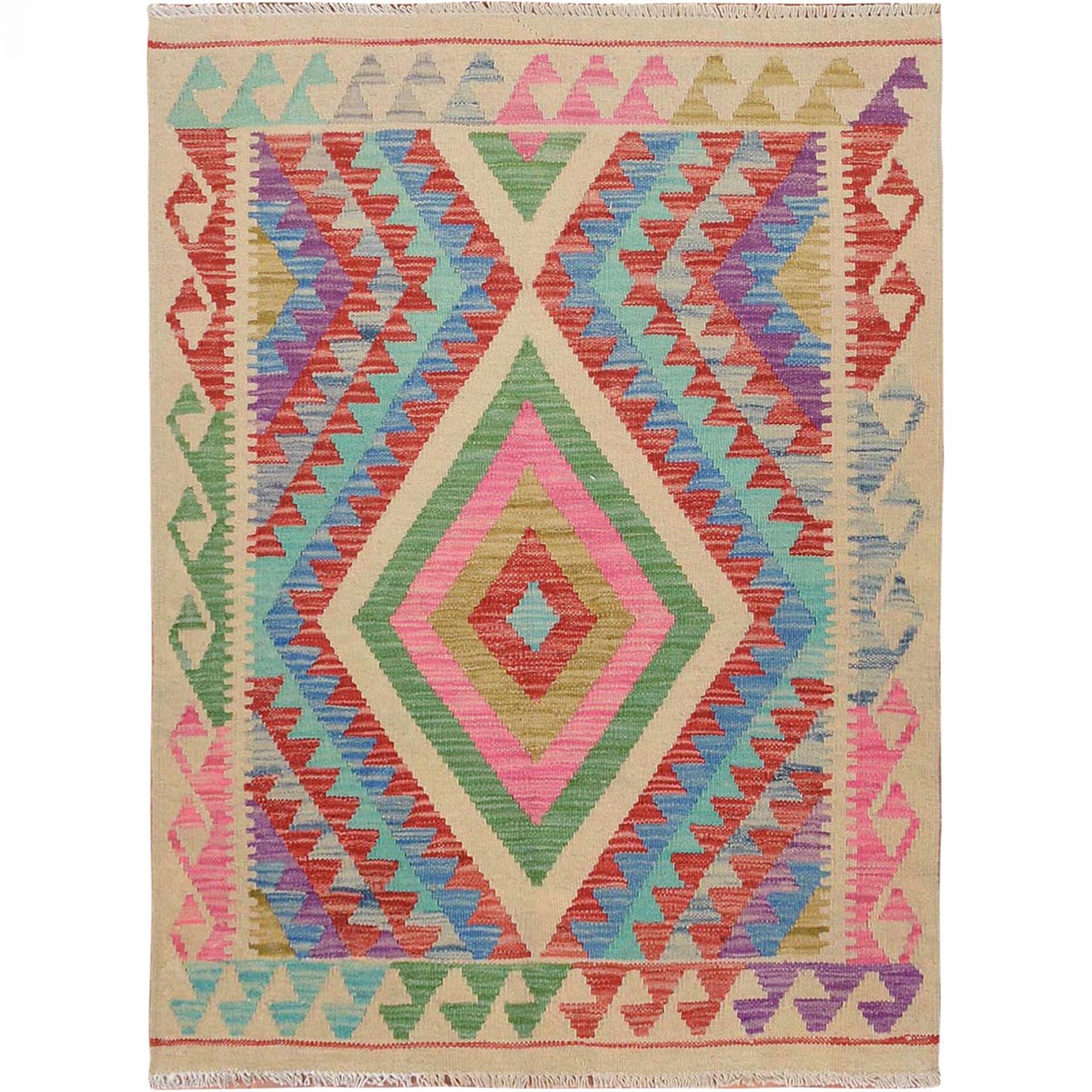 "2'8""x3'7"" Colorful Reversible Flat Weave Afghan Kilim Pure Wool Hand Woven Oriental Rug"