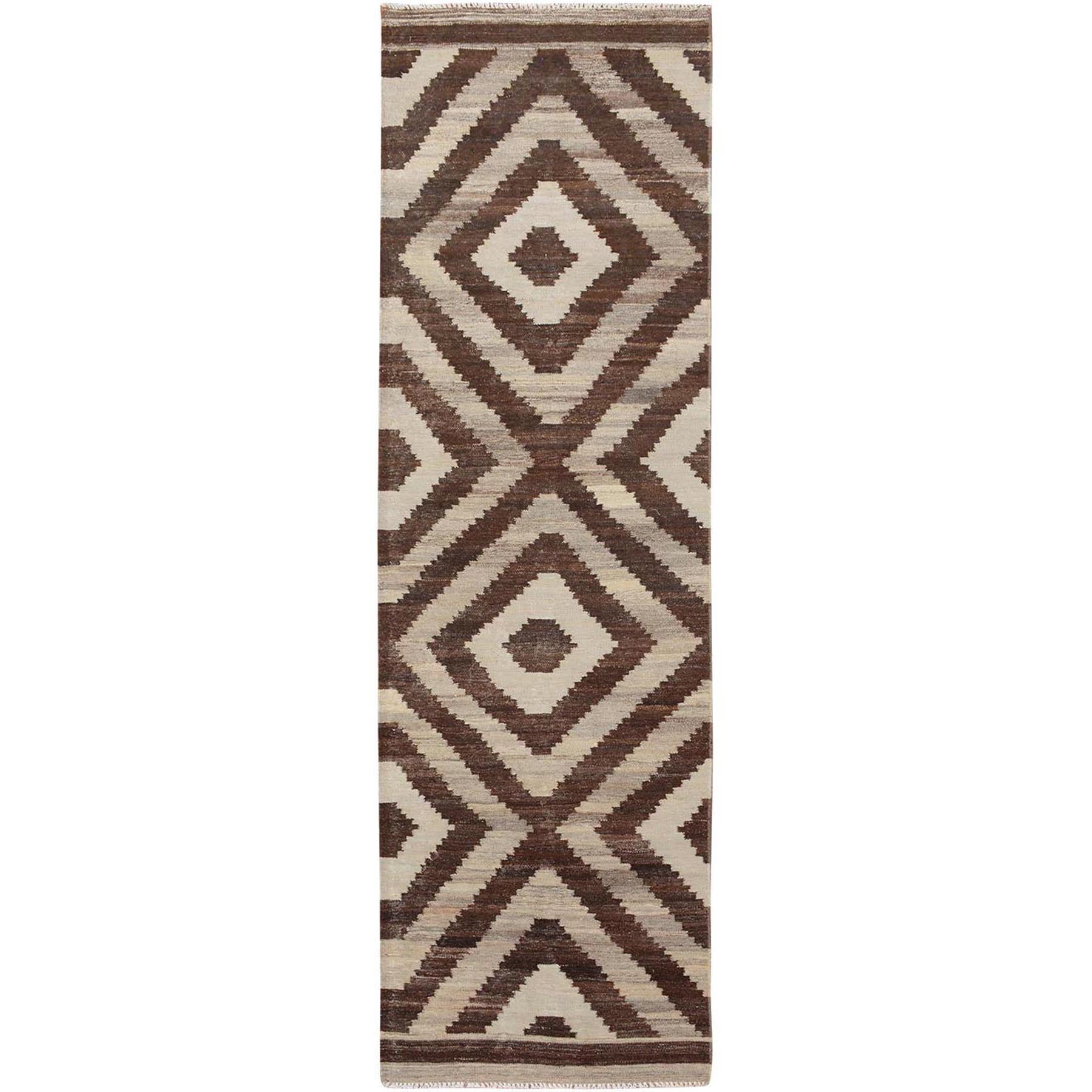 """2'10""""x10'1"""" Brown Reversible Afghan Kilim Flat weave Runner Hand Woven Oriental Rug"""