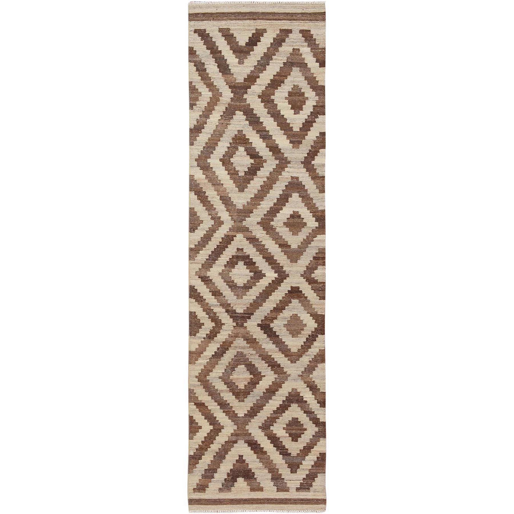 "2'7""x9'7"" Reversible Afghan Kilim Natural Dyes Pure Wool Runner Hand Woven Oriental Rug"