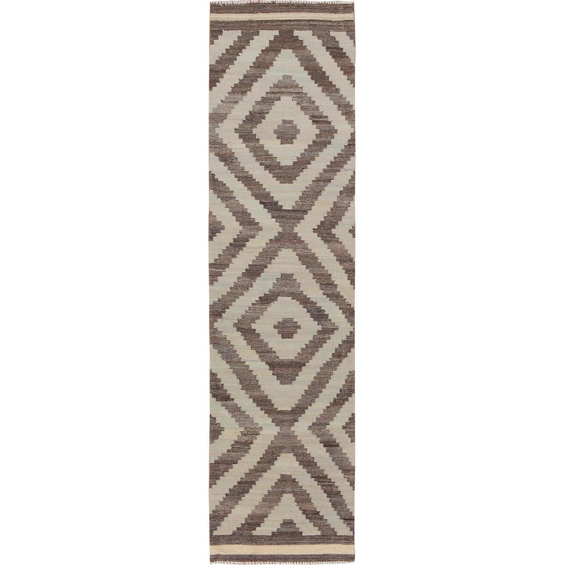 "2'3""x9'4"" Ivory Reversible Afghan Kilim Tribal Design Runner Pure Wool Hand Woven Oriental Rug"
