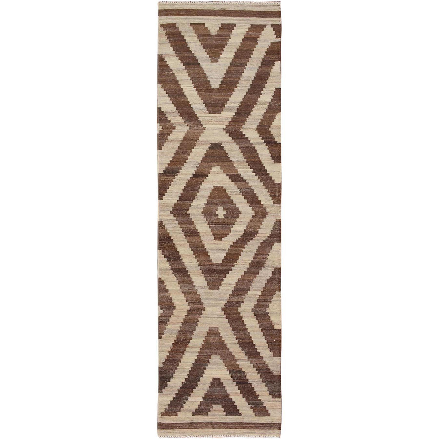 "2'8""x9'10"" Brown Reversible Afghan Kilim Geometric Design Runner Pure Wool Hand Woven Rug"