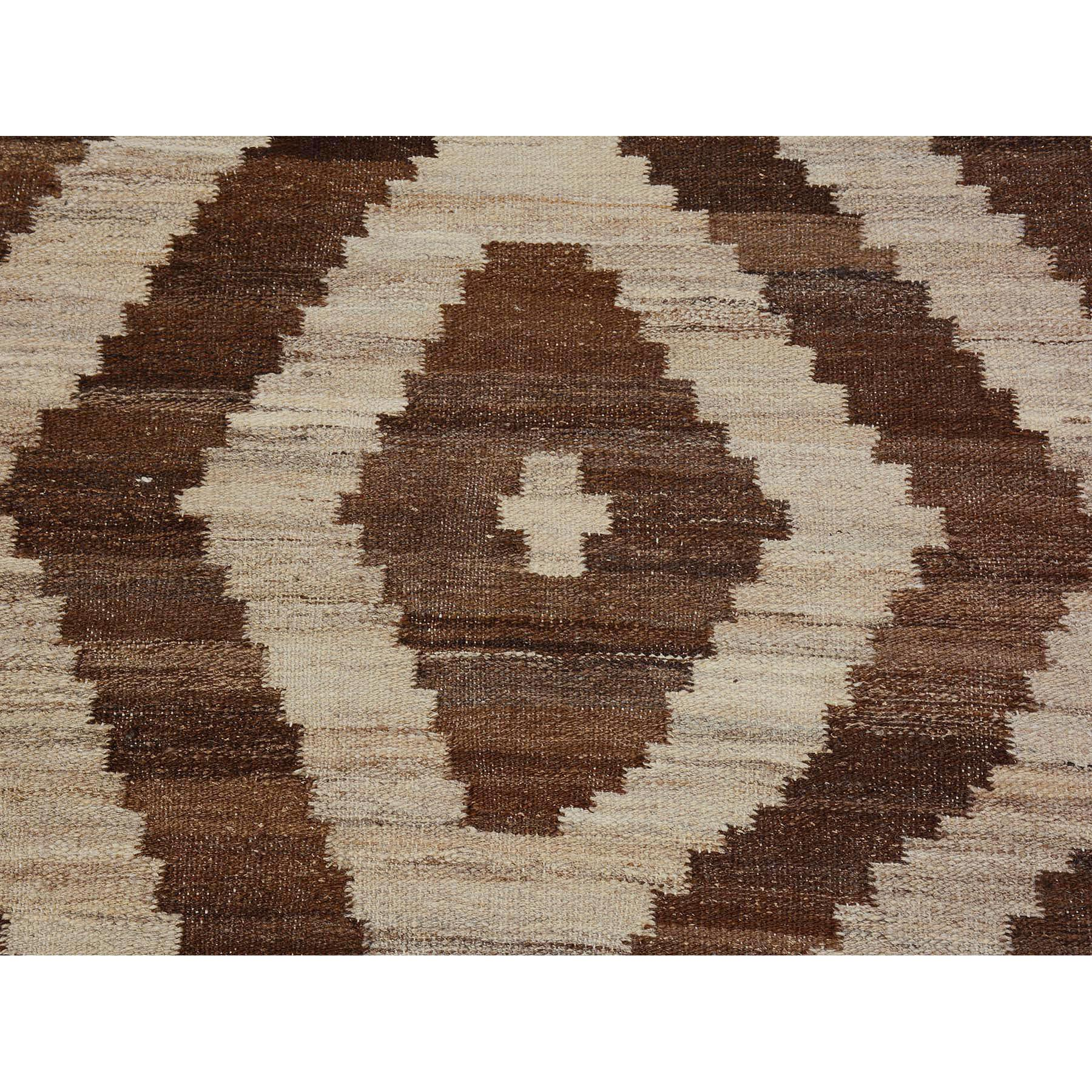 2-8 x9-10  Brown Reversible Afghan Kilim Geometric Design Runner Pure Wool Hand Woven Rug
