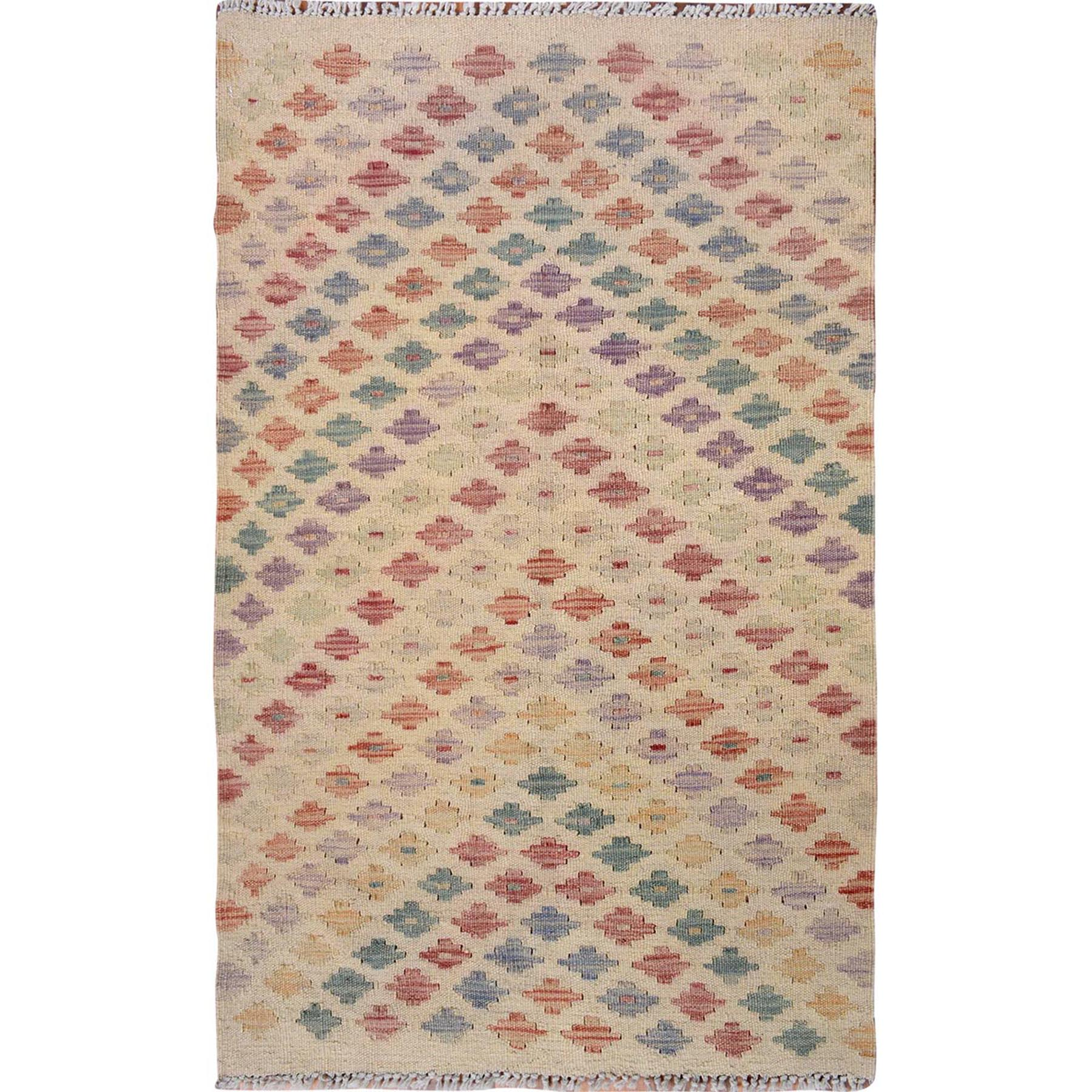 "2'4""x4'1"" Colorful Reversible Afghan Kilim Flat weave Pure Wool Hand Woven Oriental Rug"