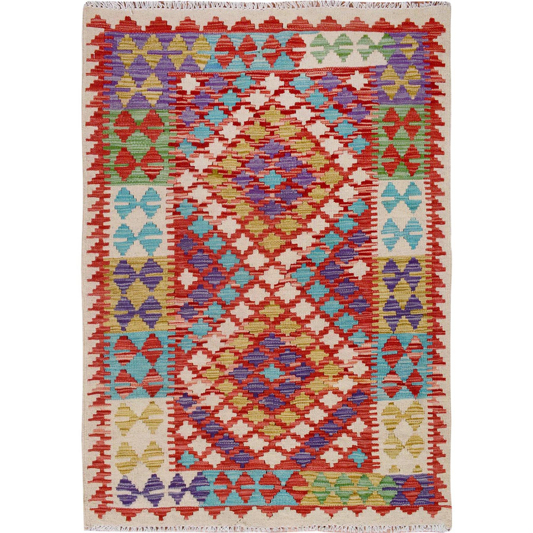"2'10""x4'2""  Colorful Reversible Flat Weave Afghan Kilim Pure Wool Hand Woven Oriental Rug"