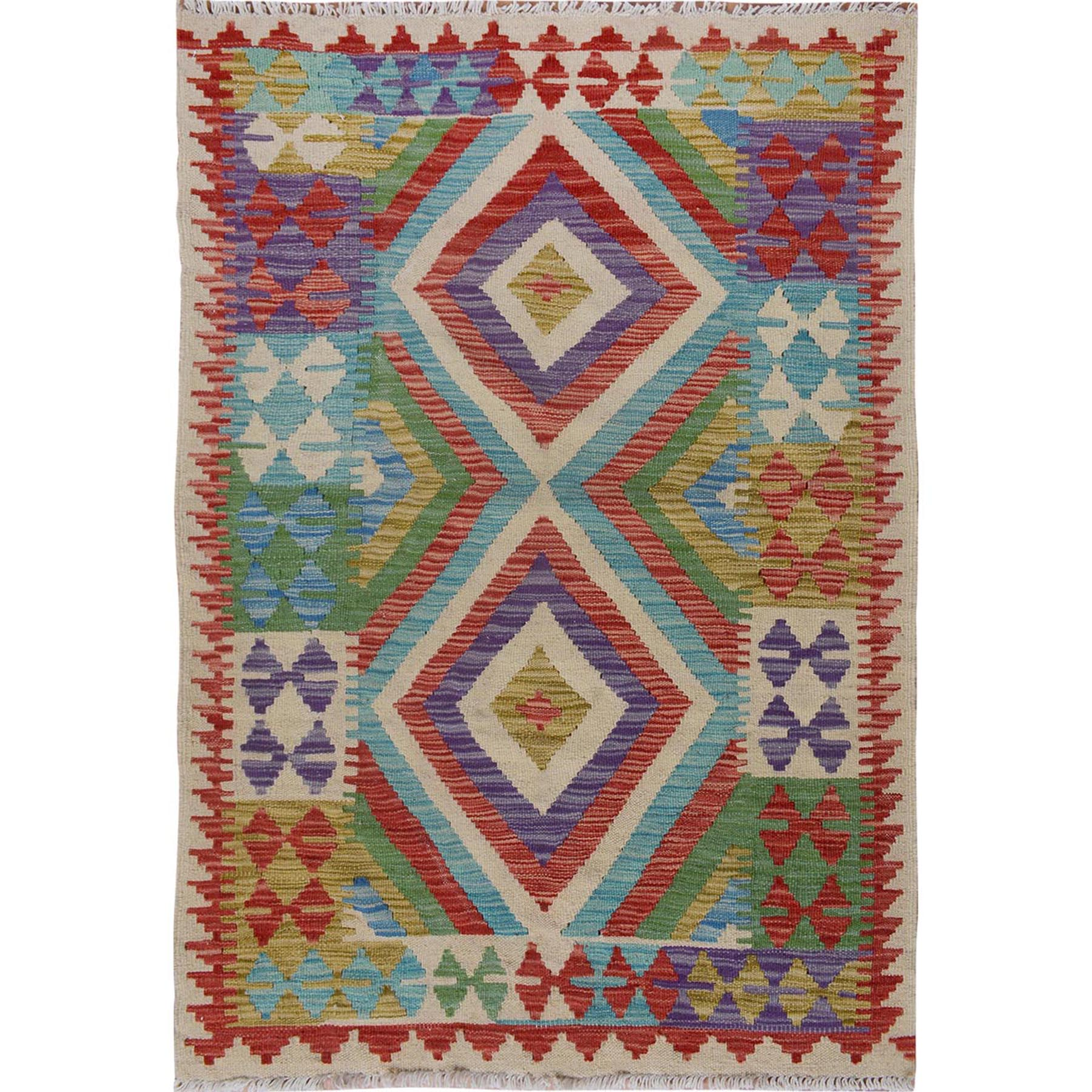 "2'10""X4' Colorful Reversible Geometric Design Afghan Kilim Vegetable Dyes Pure Wool Hand Woven Oriental Rug moae7600"