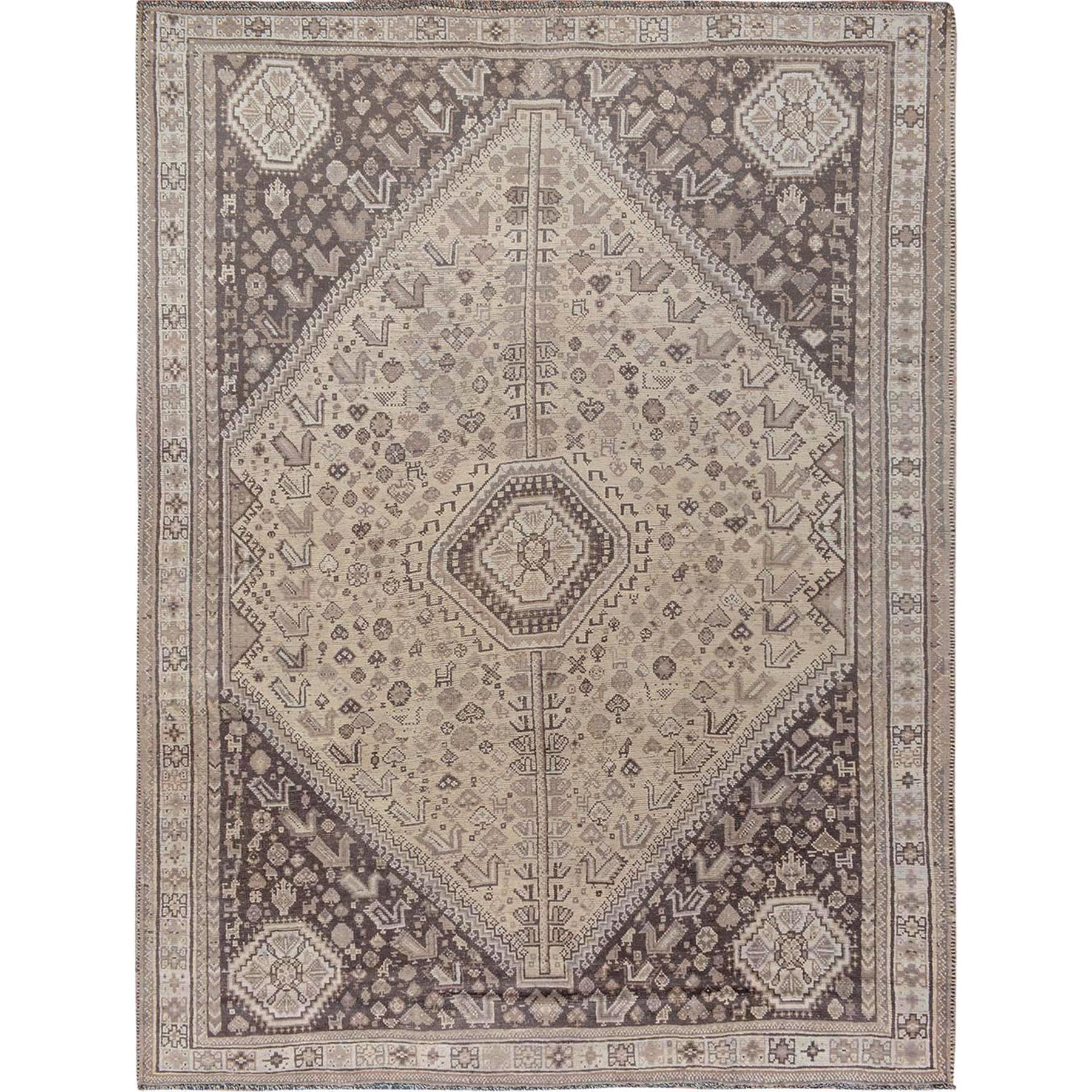 "7'2""x9'5"" Natural Colors Vintage And Worn Down Persian Shiraz Pure Wool Hand Knotted Oriental Rug"
