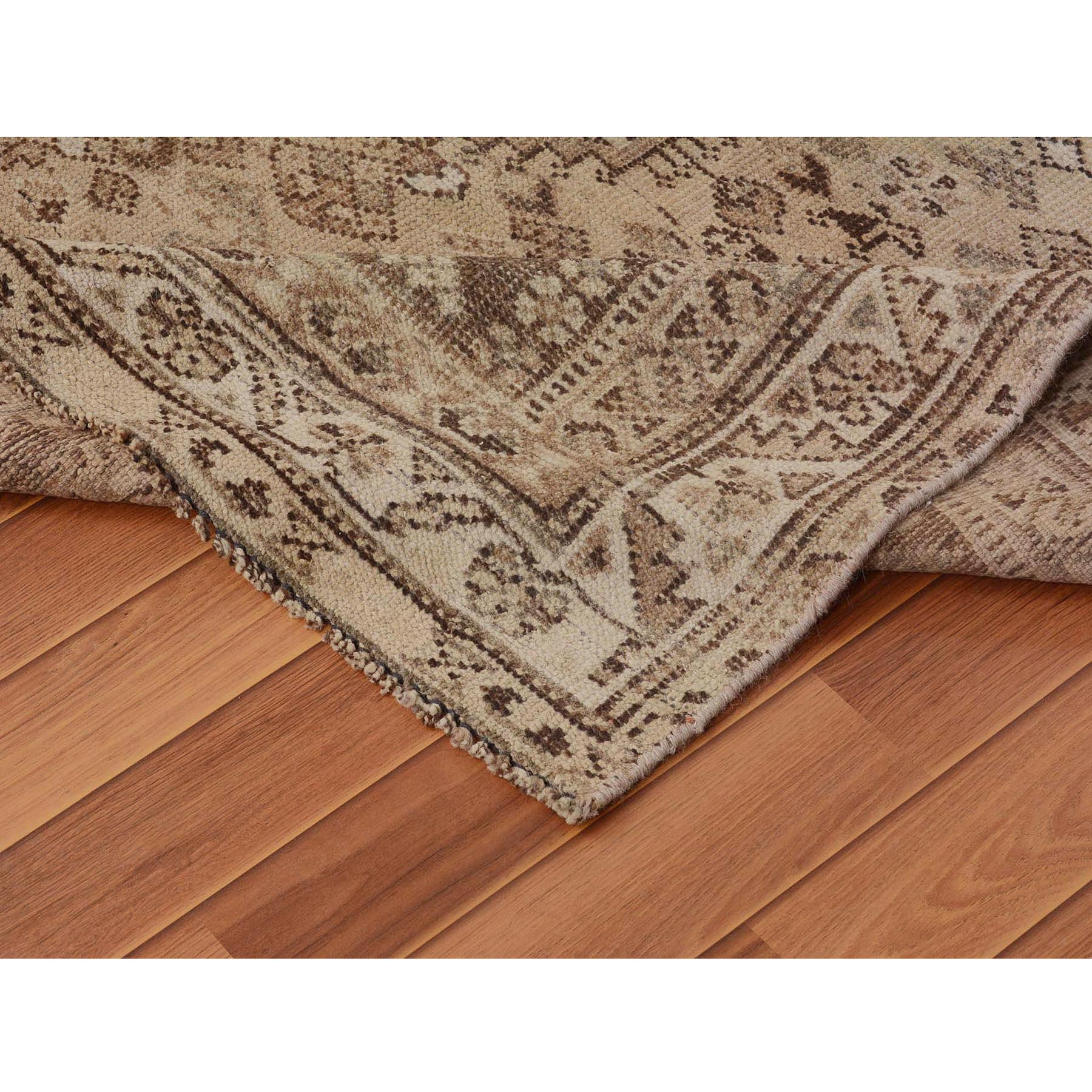 6-8 x7-8  Earth Tones Vintage and Worn Down Squarish Persian Shiraz Pure Wool Hand Knotted Oriental Rug