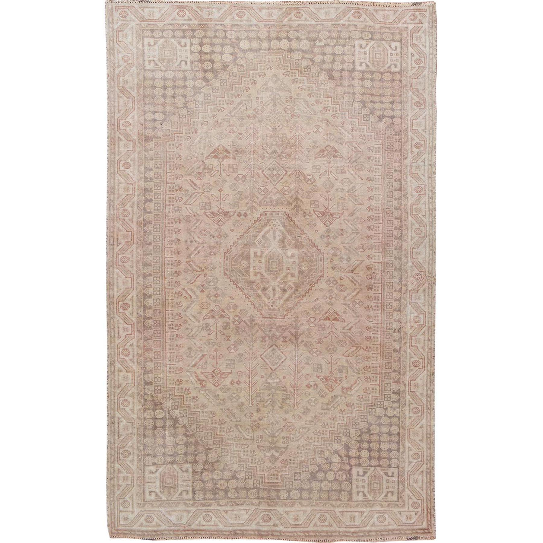 "5'2""X7'9"" Distressed Colors Vintage Persian Shiraz Worn Down Pure Wool Hand Knotted Oriental Rug moae76ab"