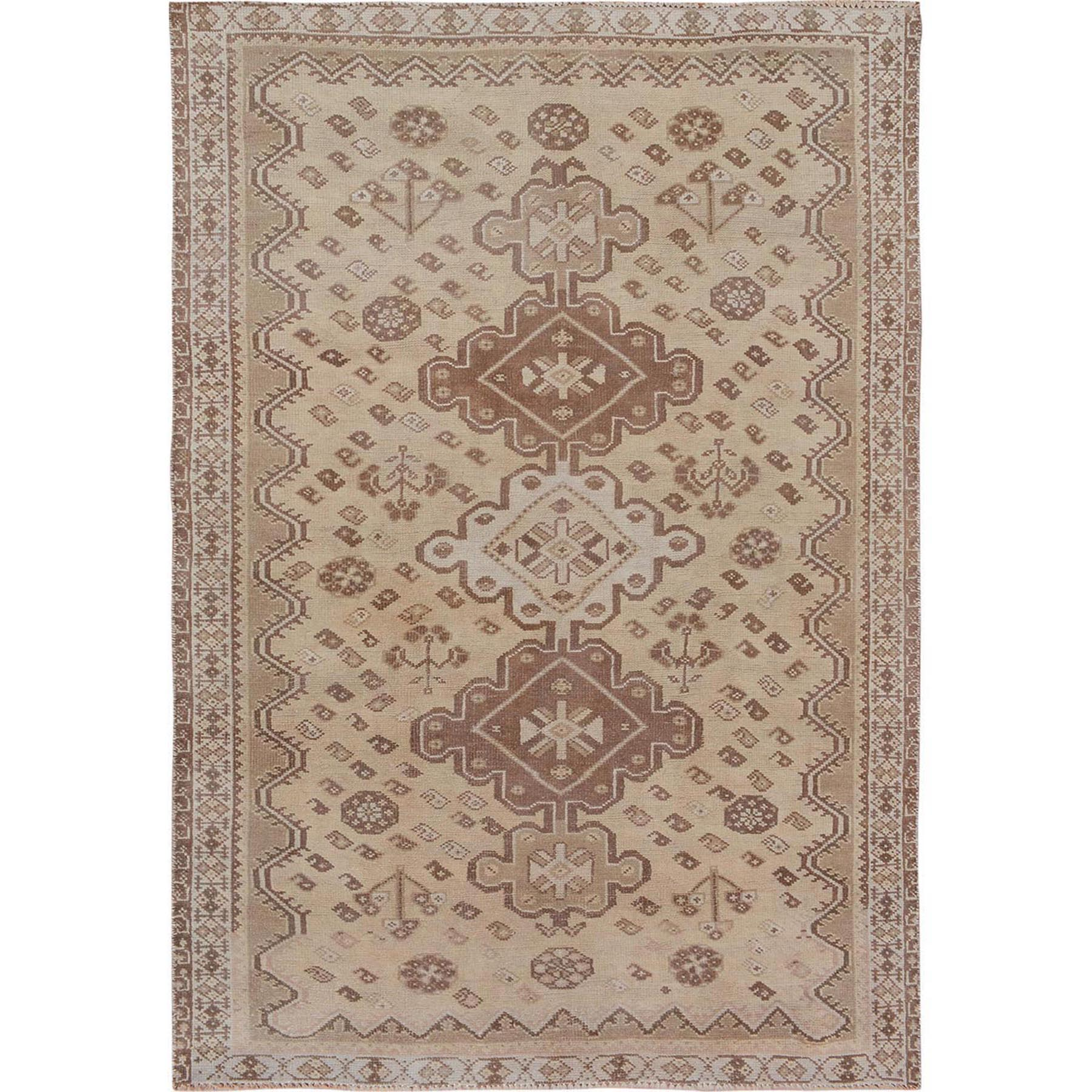 """5'X7'5"""" Earth Tones Vintage And Worn Down Persian Shiraz Clean Pure Wool Hand Knotted Oriental Rug moae76a6"""