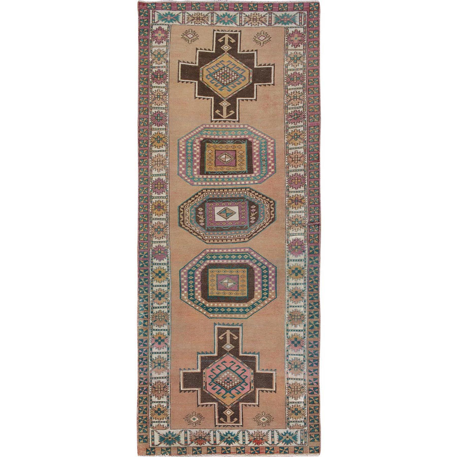"4'1""x10'7"" Colorful Vintage and Worn Down Persian Karabakh Hand Knotted Runner Oriental Rug"