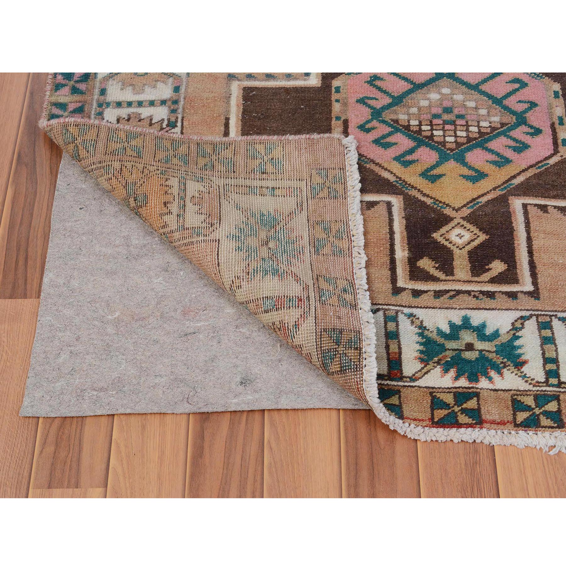 4-1 x10-7  Colorful Vintage and Worn Down Persian Karabakh Hand Knotted Runner Oriental Rug