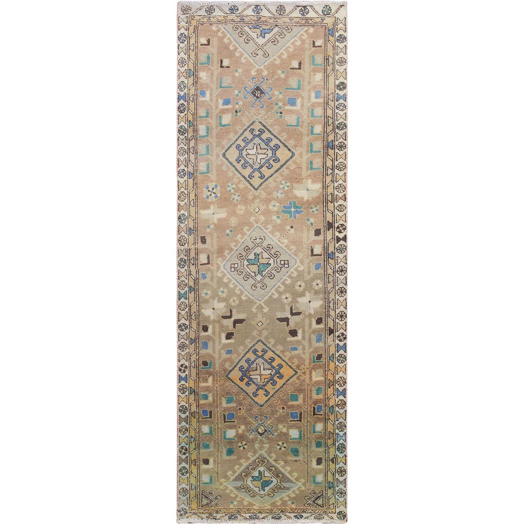 "2'9""x8'7"" Natural Colors Worn Down and Vintage North West Persian Runner Hand Knotted Oriental Rug"