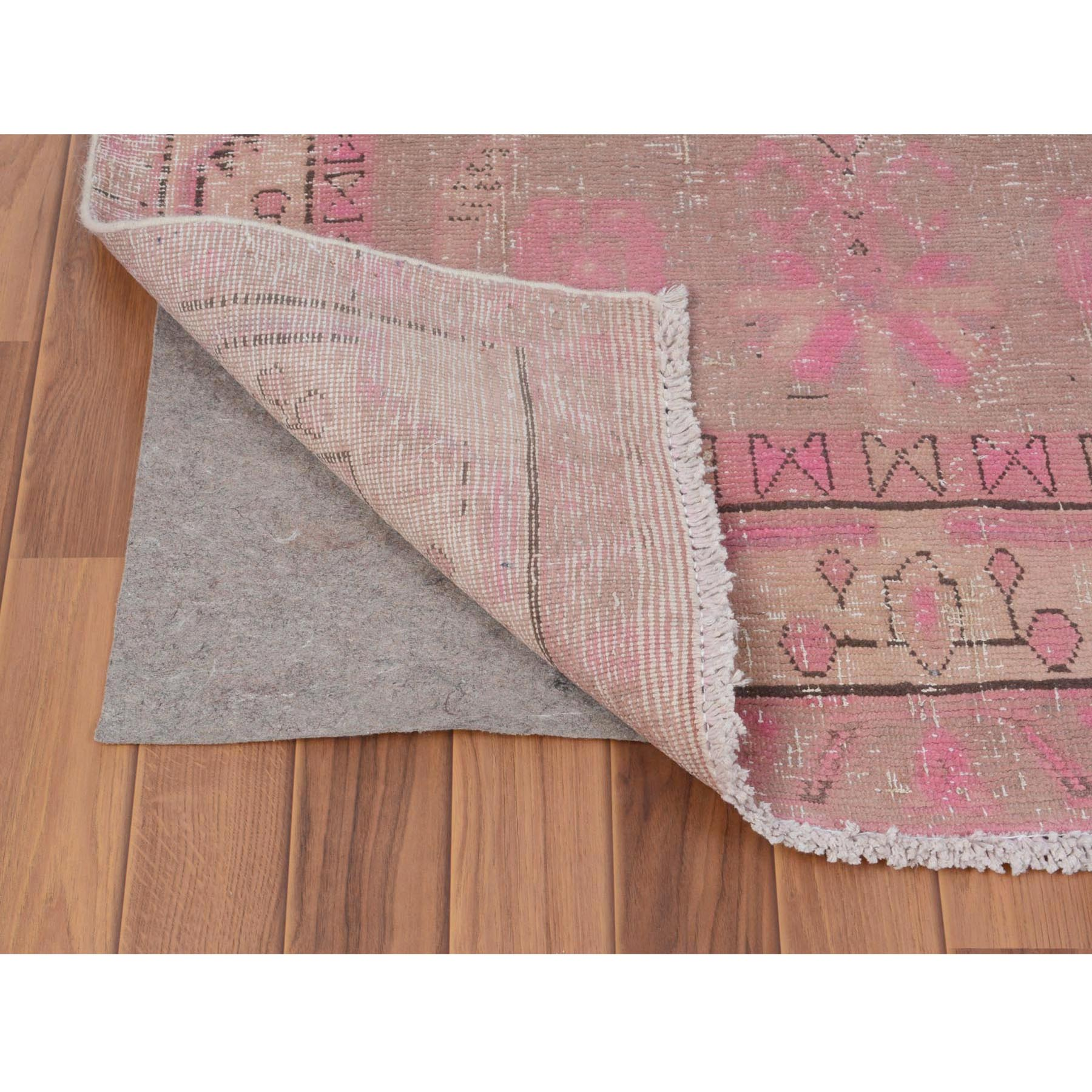 3-5 x12-5  Pink Vintage and Worn Down North West Persian Hand Knotted Runner Oriental Rug